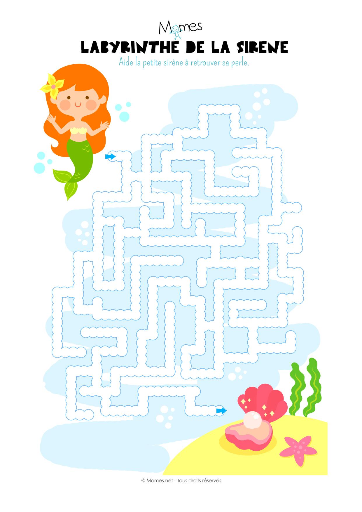 Labyrinthe De La Sirène - Momes destiné Jeux Educatif 4 Ans A Imprimer