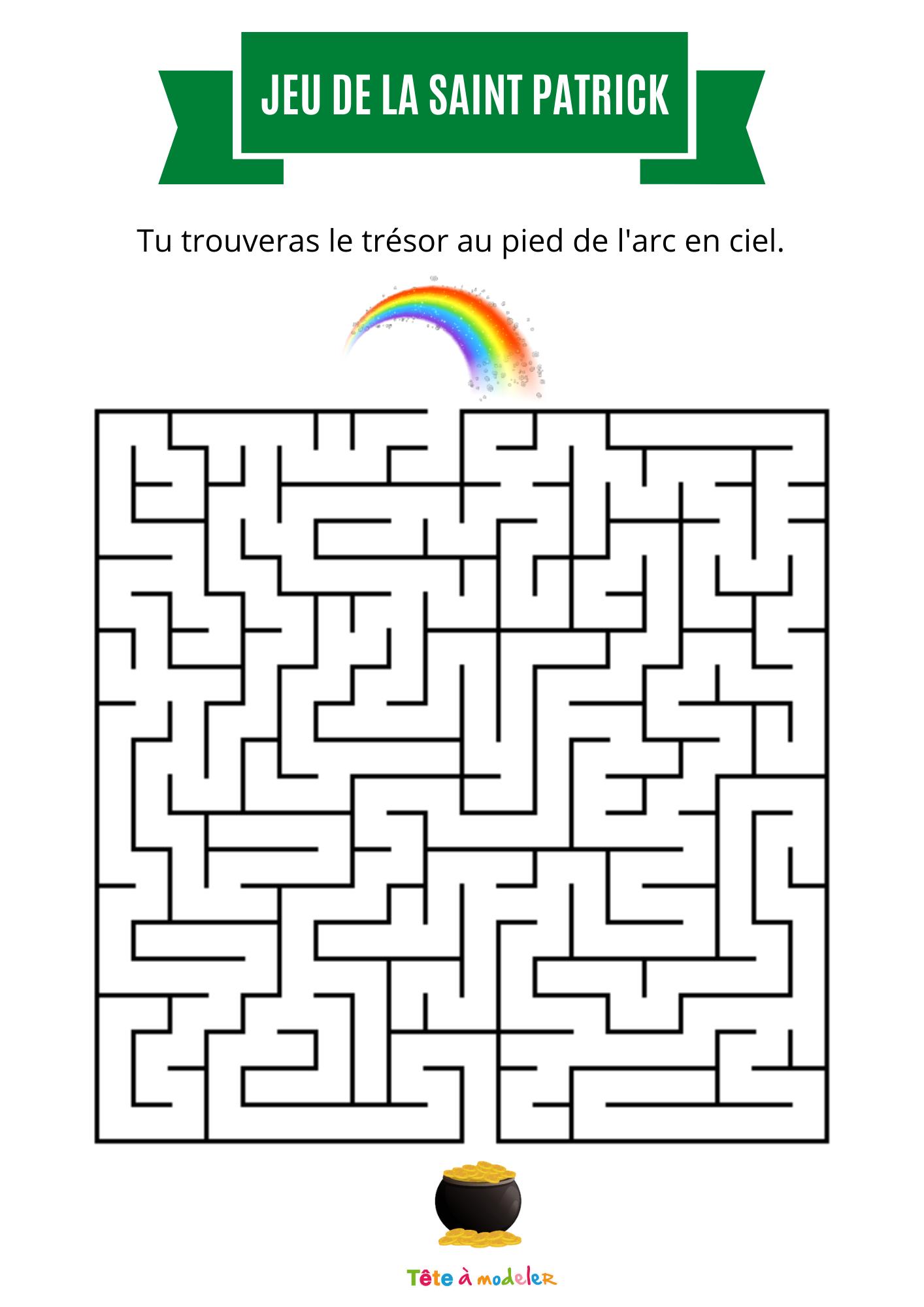 Labyrinthe De Saint Patrick - Tête À Modeler tout Labyrinthes À Imprimer