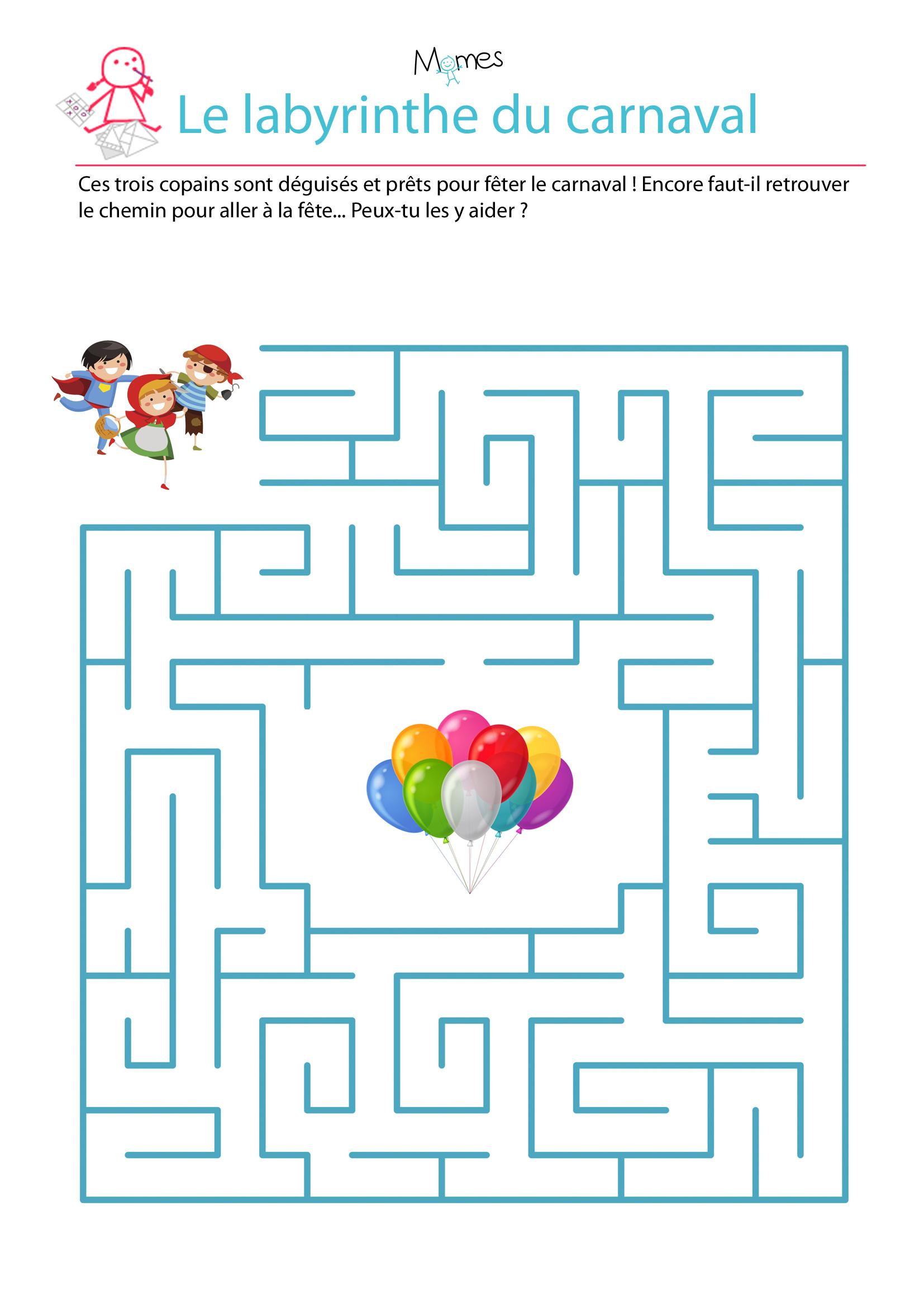 Labyrinthe Du Carnaval - Momes encequiconcerne Labyrinthes À Imprimer