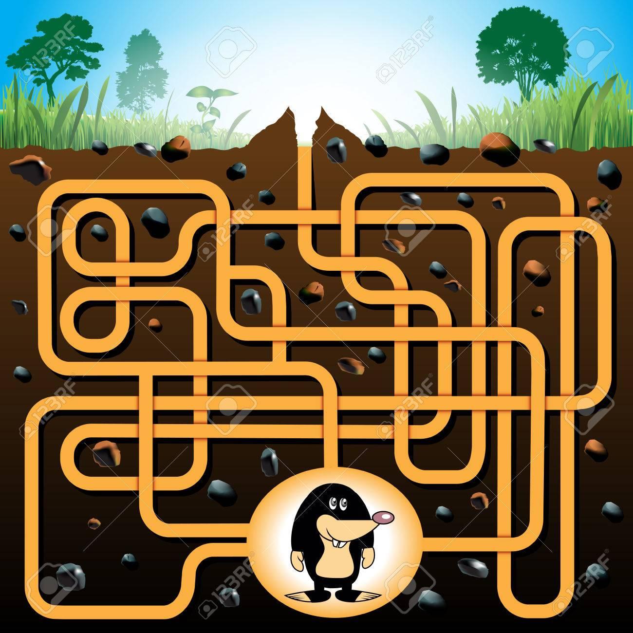Labyrinthe Éducation Ou Jeu De Labyrinthe Pour Les Enfants D'âge  Préscolaire Avec Taupe Drôle. Vector Illustration dedans Jeu De La Taupe