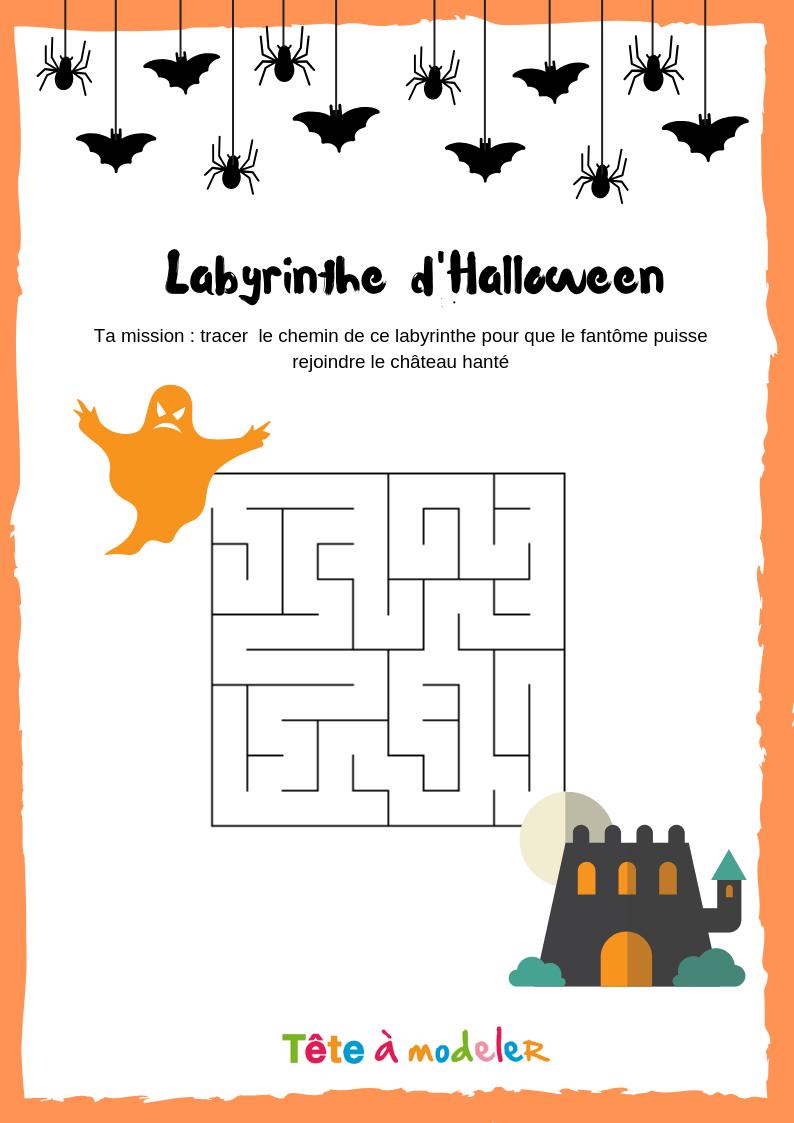 Labyrinthe Halloween #1 - Un Jeu À Imprimer De Tête À Modeler pour Jeux De Labyrinthe Gratuit
