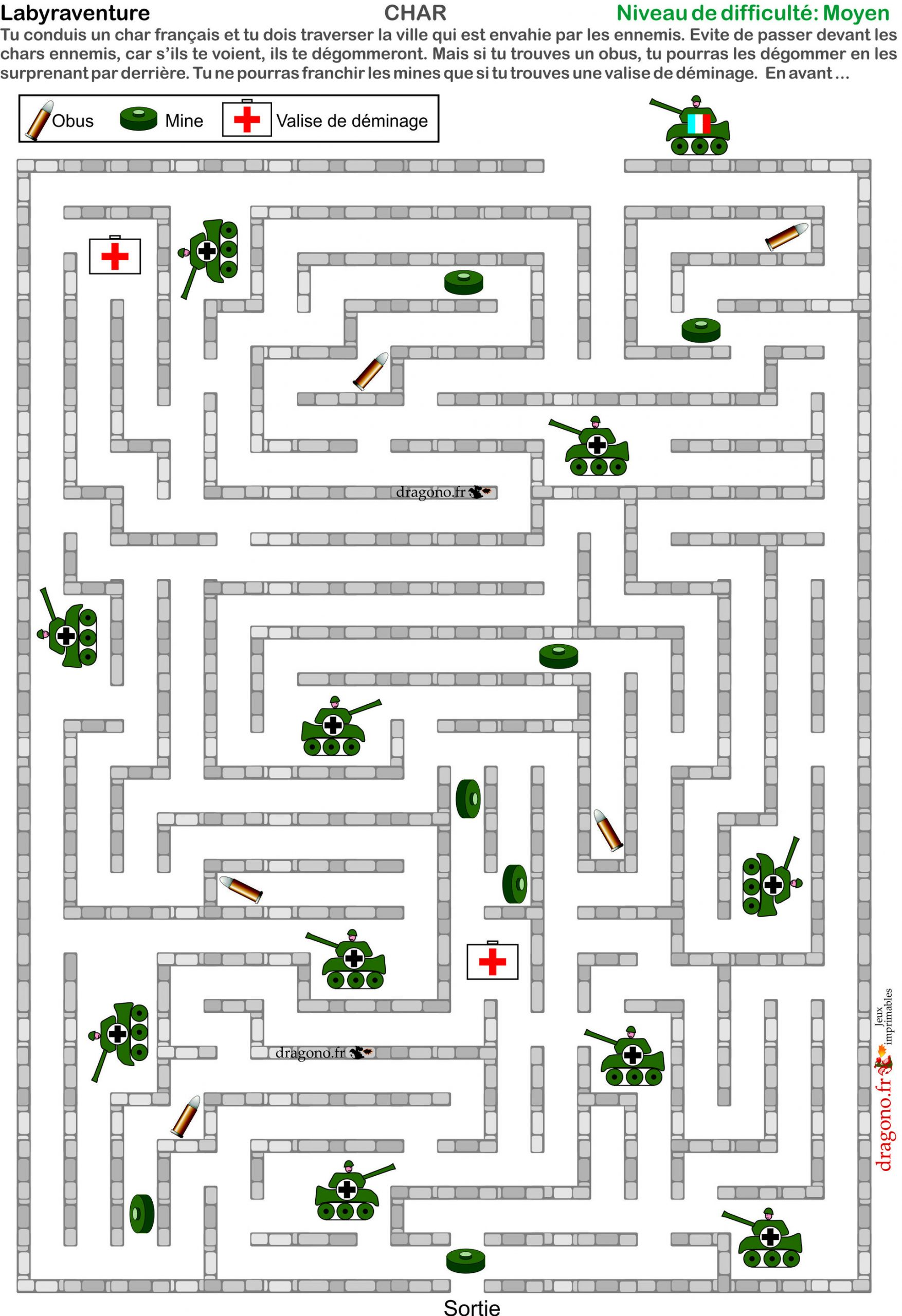 Labyrinthes À Imprimer Avec Chars, Mines, Obus. Jeu À destiné Labyrinthe A Imprimer