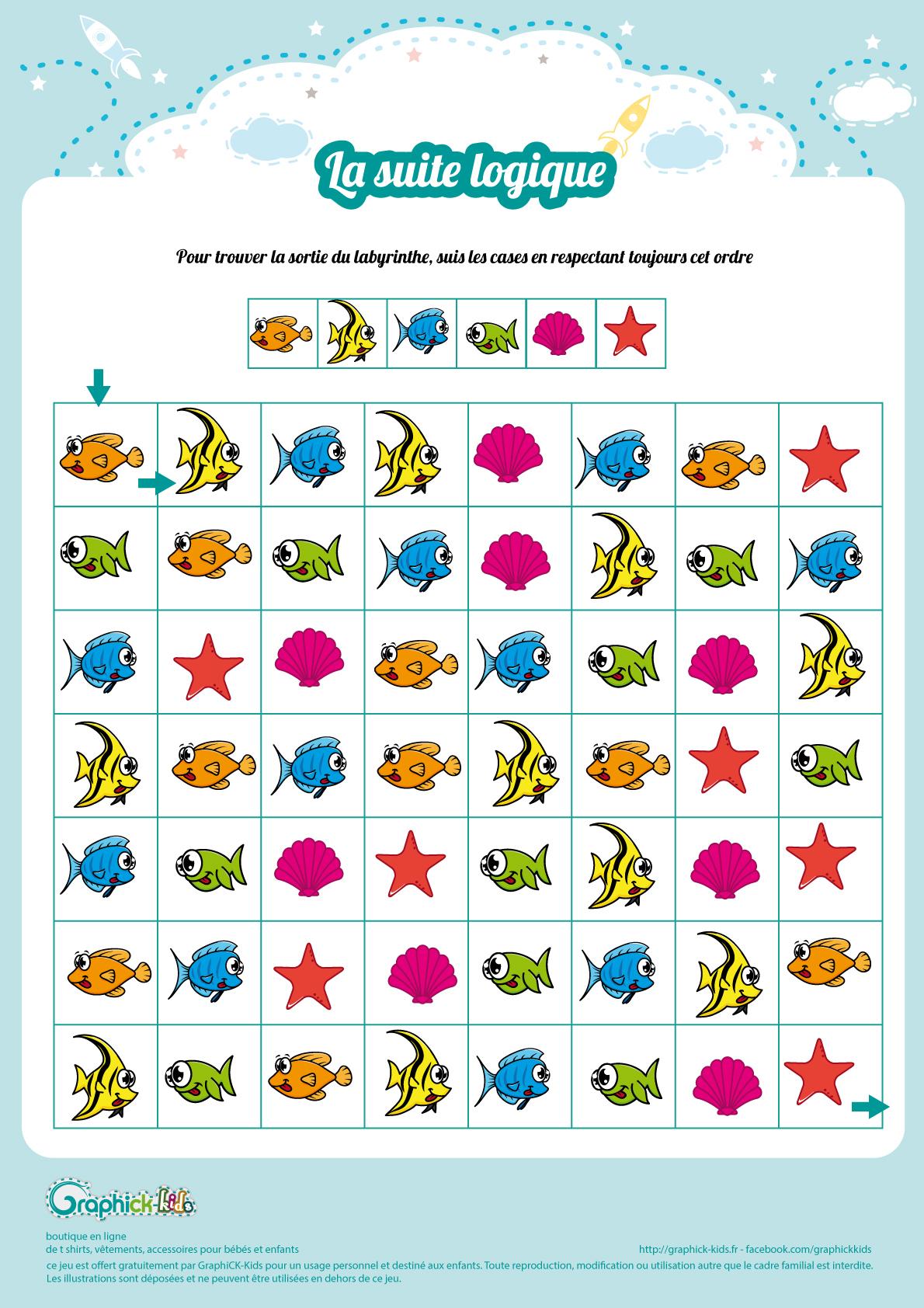 Labyrinthes Et Suite Logiques Gratuits, À Imprimer, Pour Enfants à Jeux De Logique Gratuits