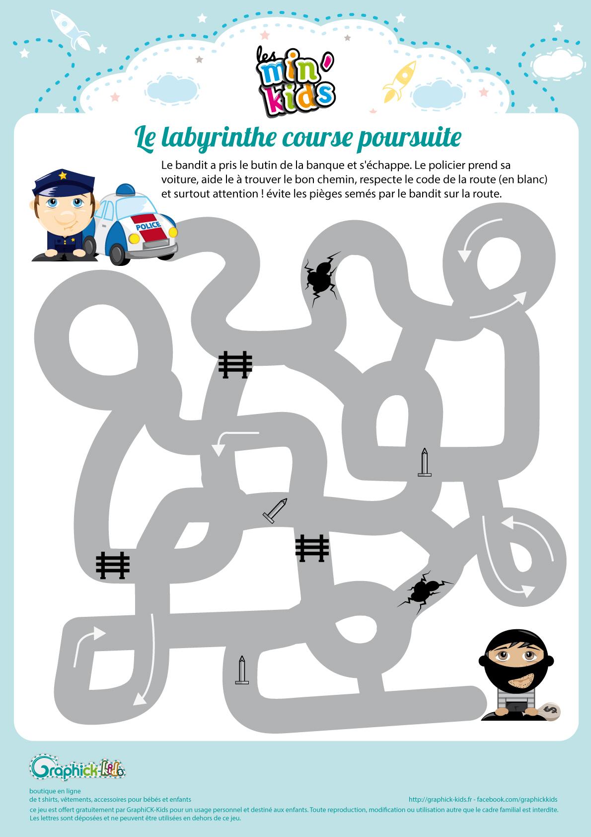Labyrinthes Et Suite Logiques Gratuits, À Imprimer, Pour Enfants intérieur Jeux Gratuit De Pompier