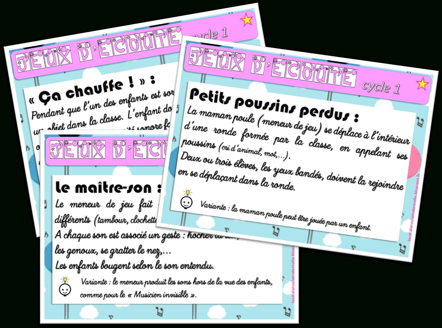 Lacatalane À La Maternelle: Jeux D'écoute Pour La Maternelle pour Jeux Pour Petite Section