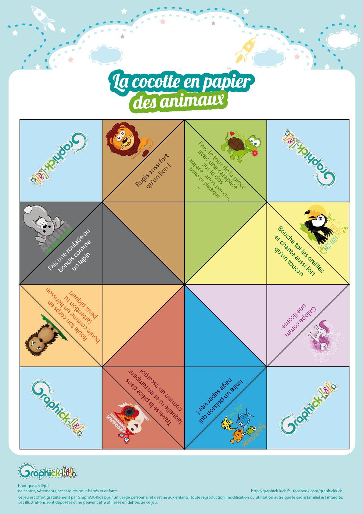 L'activité Du Mercredi : La Cocotte En Papier Des Animaux destiné Jeux Rigolos Gratuits