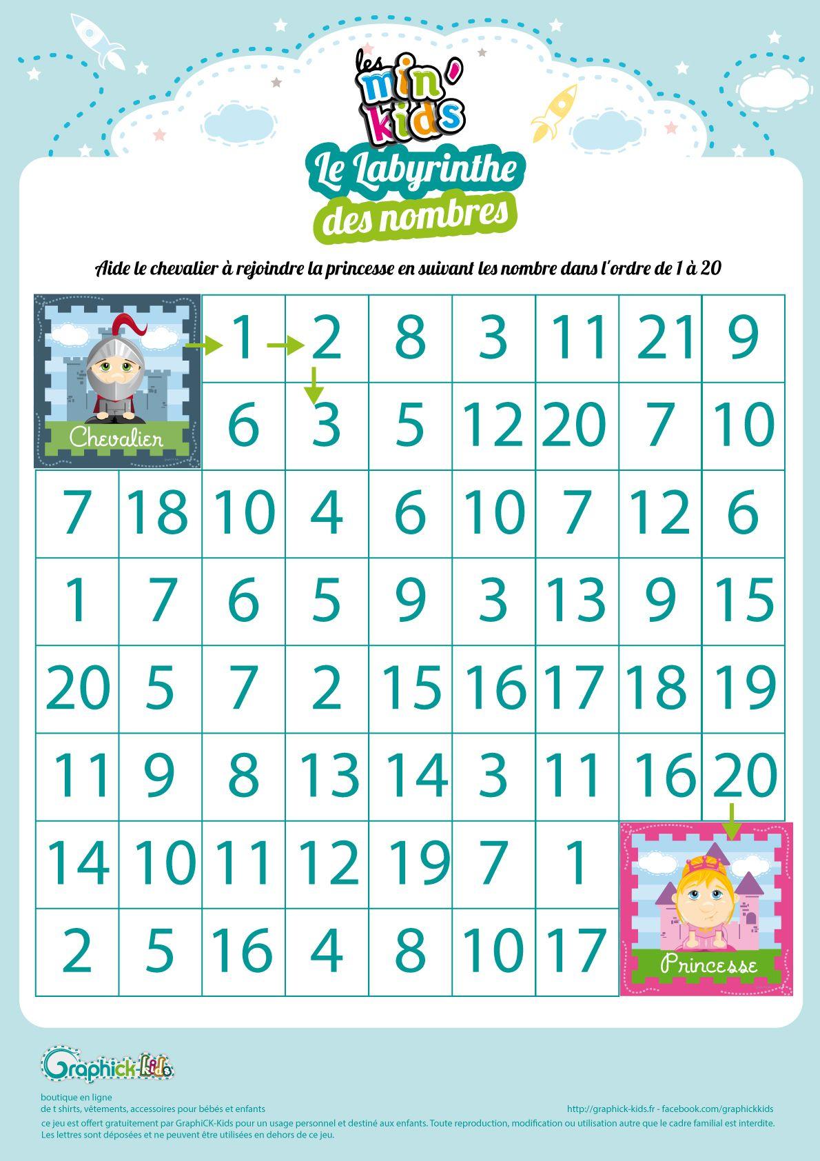 L'activité Du Mercredi : Le Labyrinthe Des Nombres Min'kids tout Exercice Grande Section Maternelle Gratuit A Imprimer