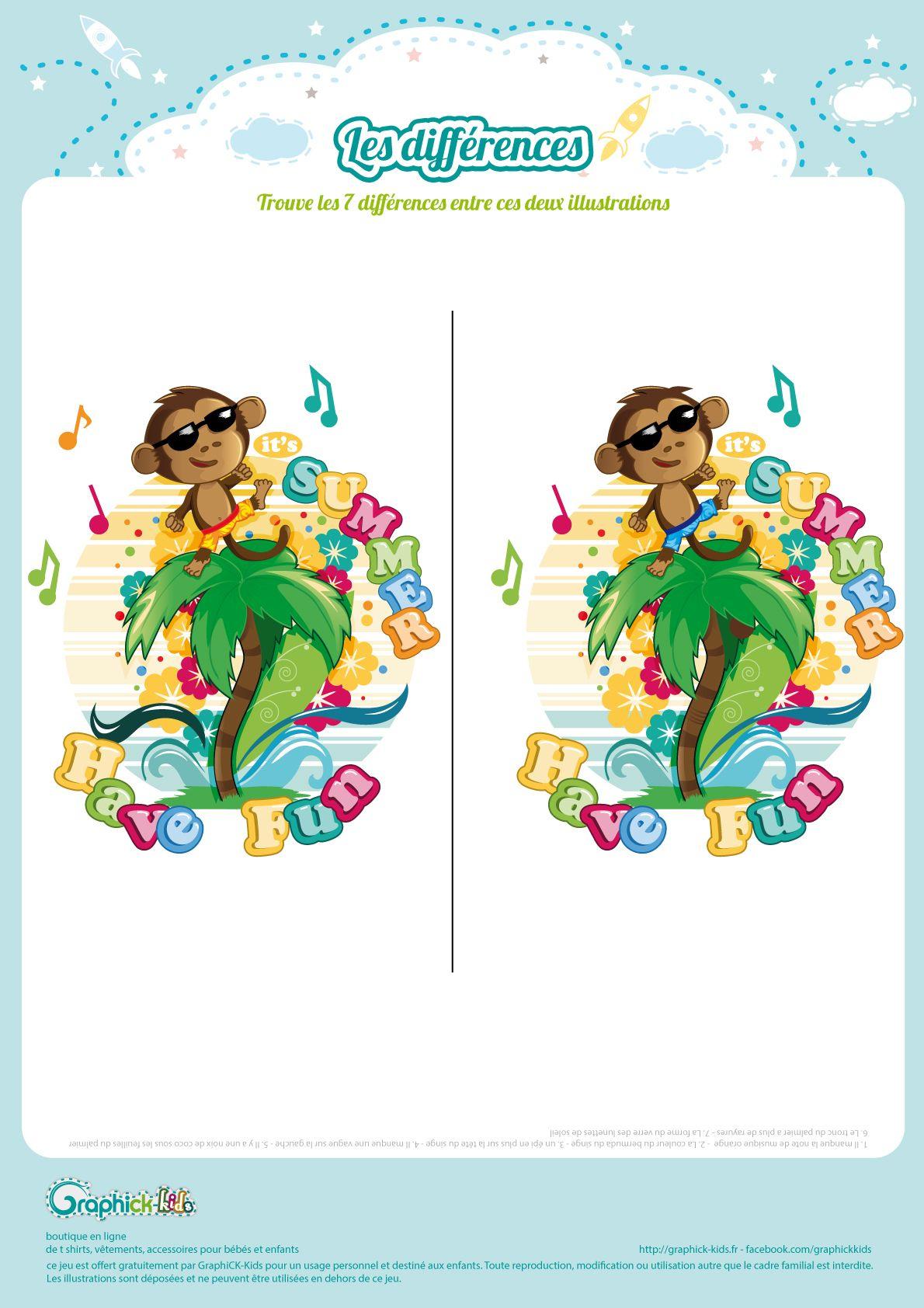 L'activité Du Mercredi : Les 7 Erreurs Du Petit Singe avec Jeux Des 7 Différences Gratuit