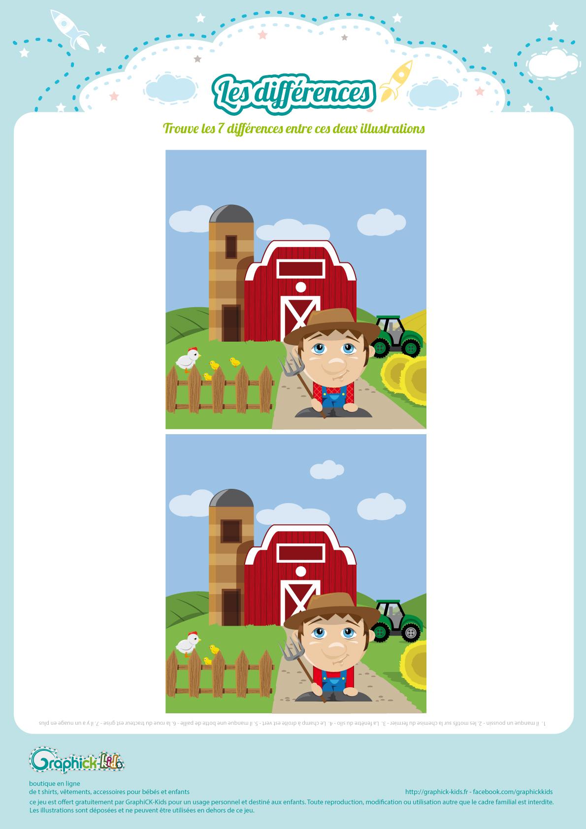 L'activité Du Mercredi : Les Différences De La Ferme destiné Jeu Des 7 Différences À Imprimer