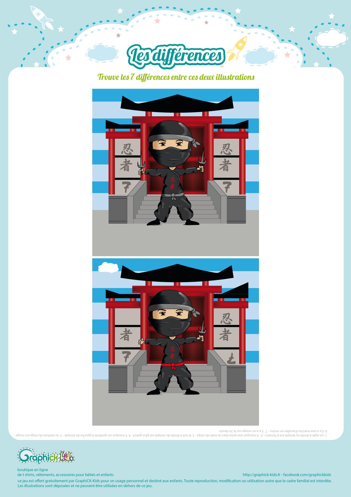 L'activité Du Mercredi : Les Différences Du Ninja - Graphick dedans Jeux Des Differences Gratuit A Imprimer