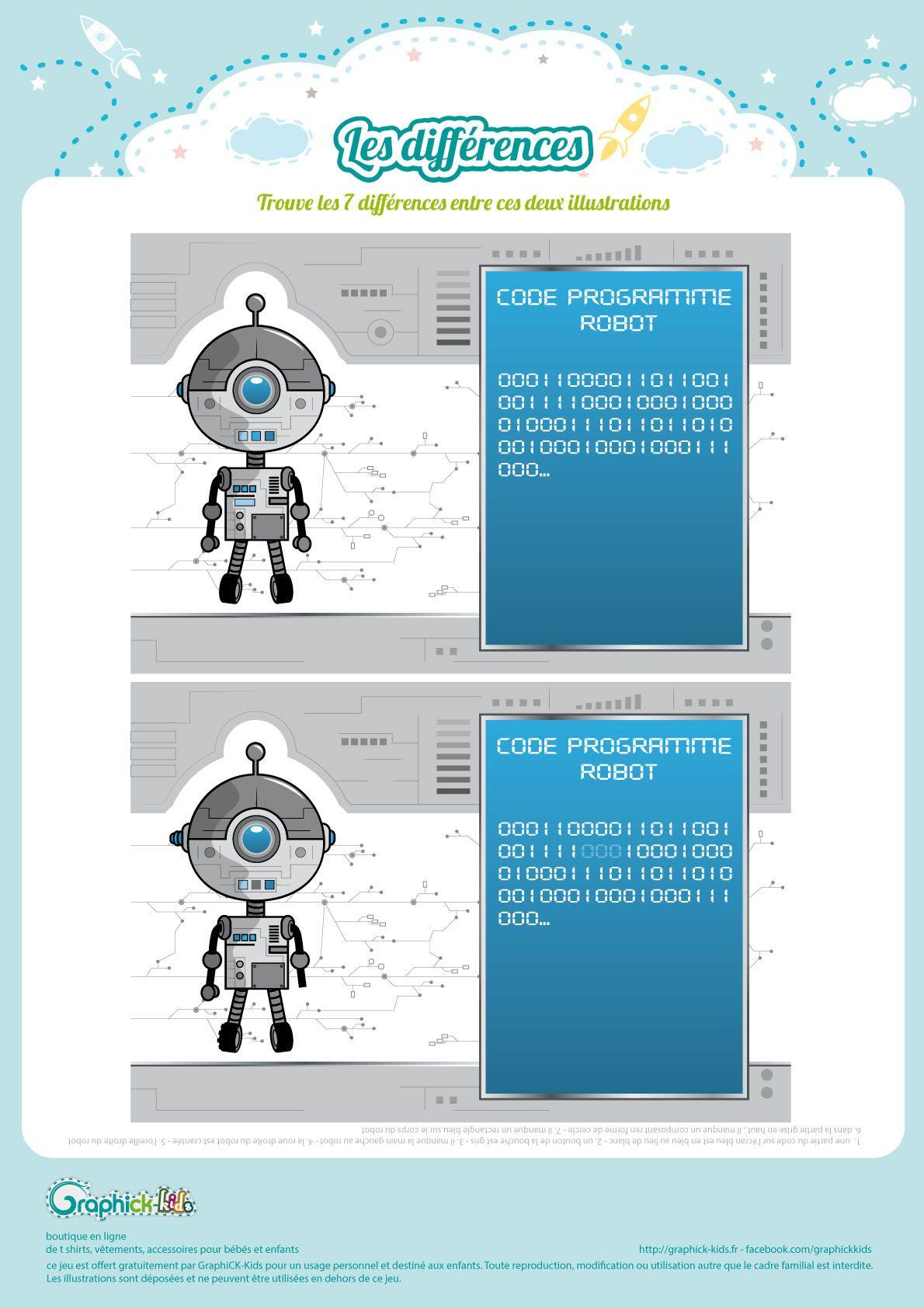 L'activité Du Mercredi : Les Différences Du Petit Robot pour Jeux Des 7 Différences Gratuit