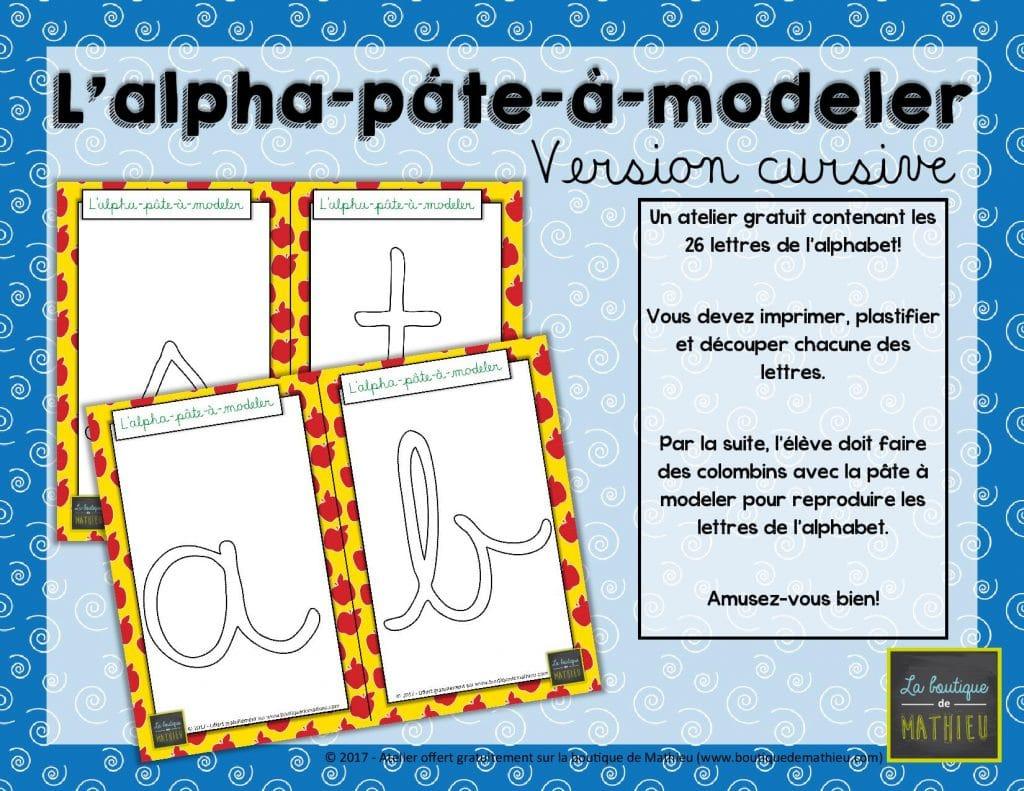 L'alpha-Pâte-À-Modeler (Version Lettres Cursives) – La intérieur Lettre De L Alphabet A Imprimer Et Decouper