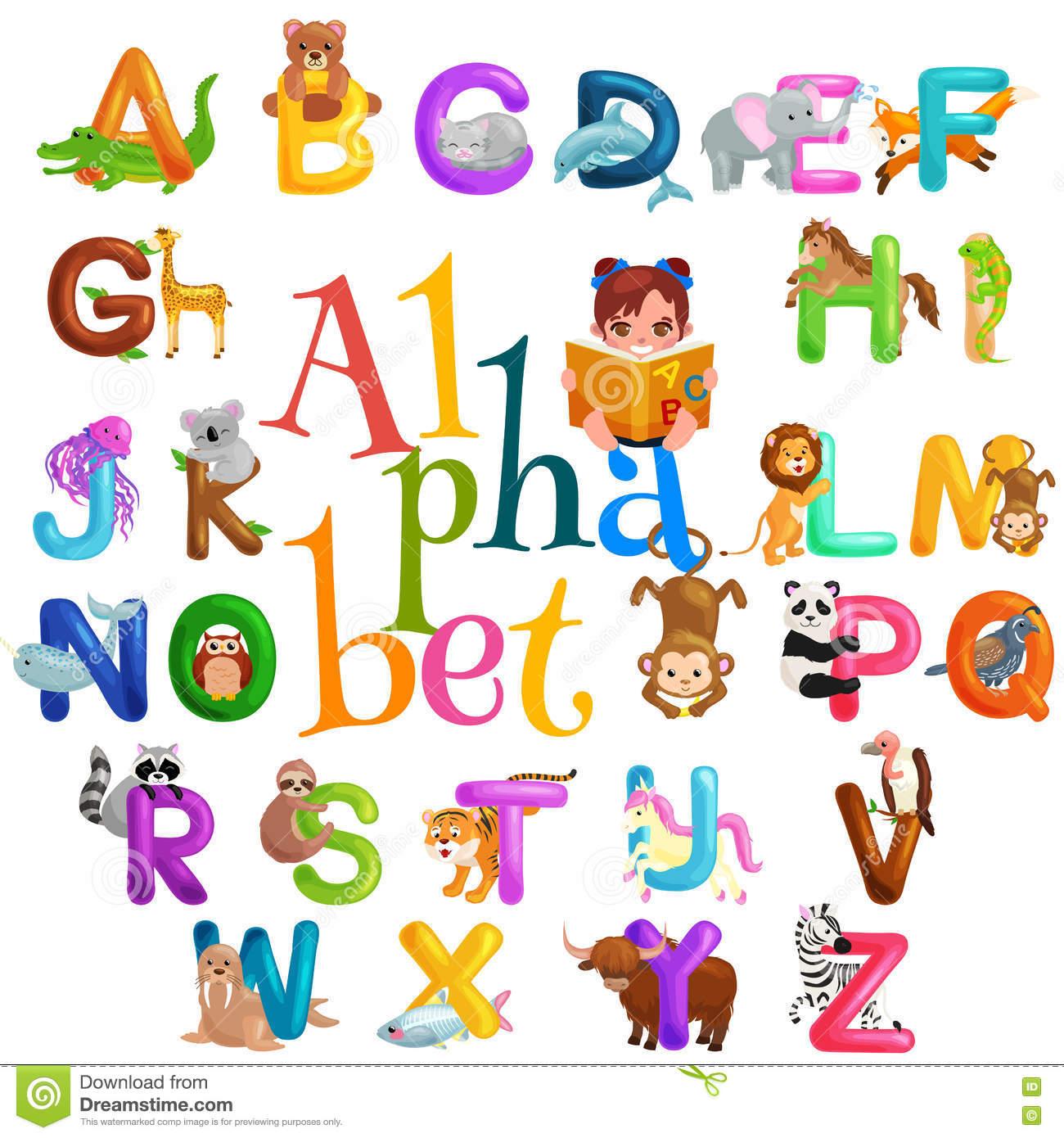L'alphabet D'animaux A Placé Pour L'éducation D'abc D encequiconcerne Apprendre L Alphabet En Francais Maternelle