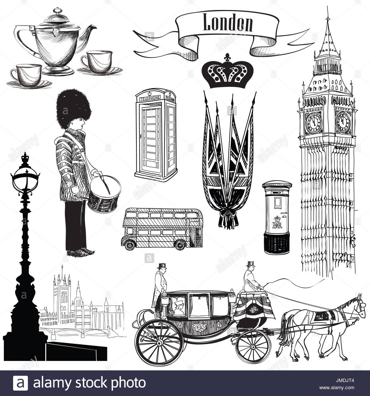 L'anglais Icon Set. Symboles De Londres, Angleterre, Royaume tout Dessin De Angleterre