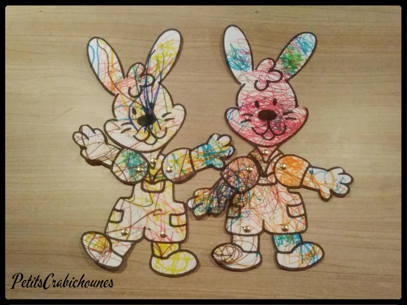 Lapins De Pâques, Pantins Articulés. - Petits Crabichounes avec Pantins Articulés À Imprimer