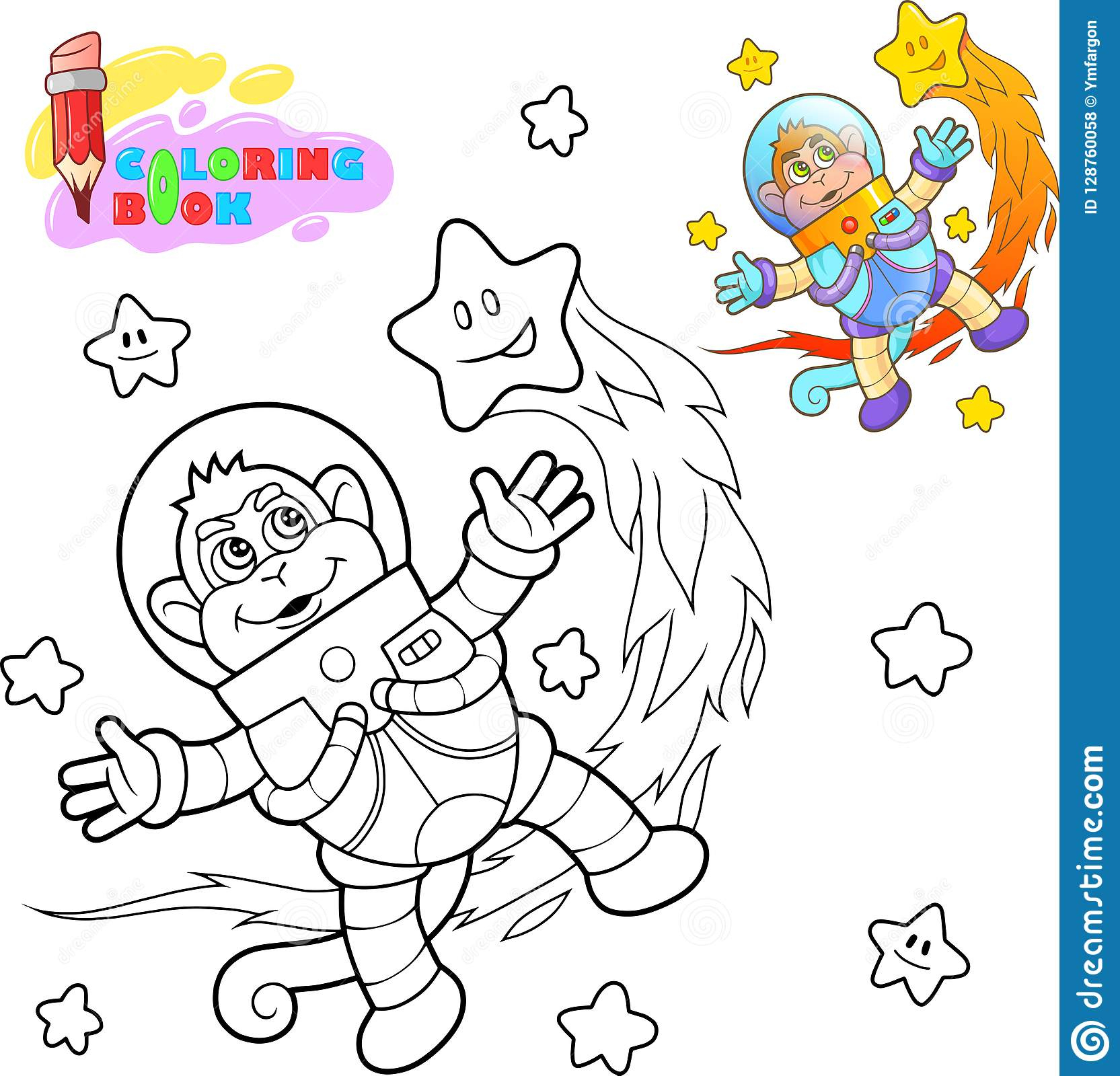 L'astronaute Mignon De Singe Vole Parmi Livre De Coloriage D encequiconcerne Coloriage Astronaute