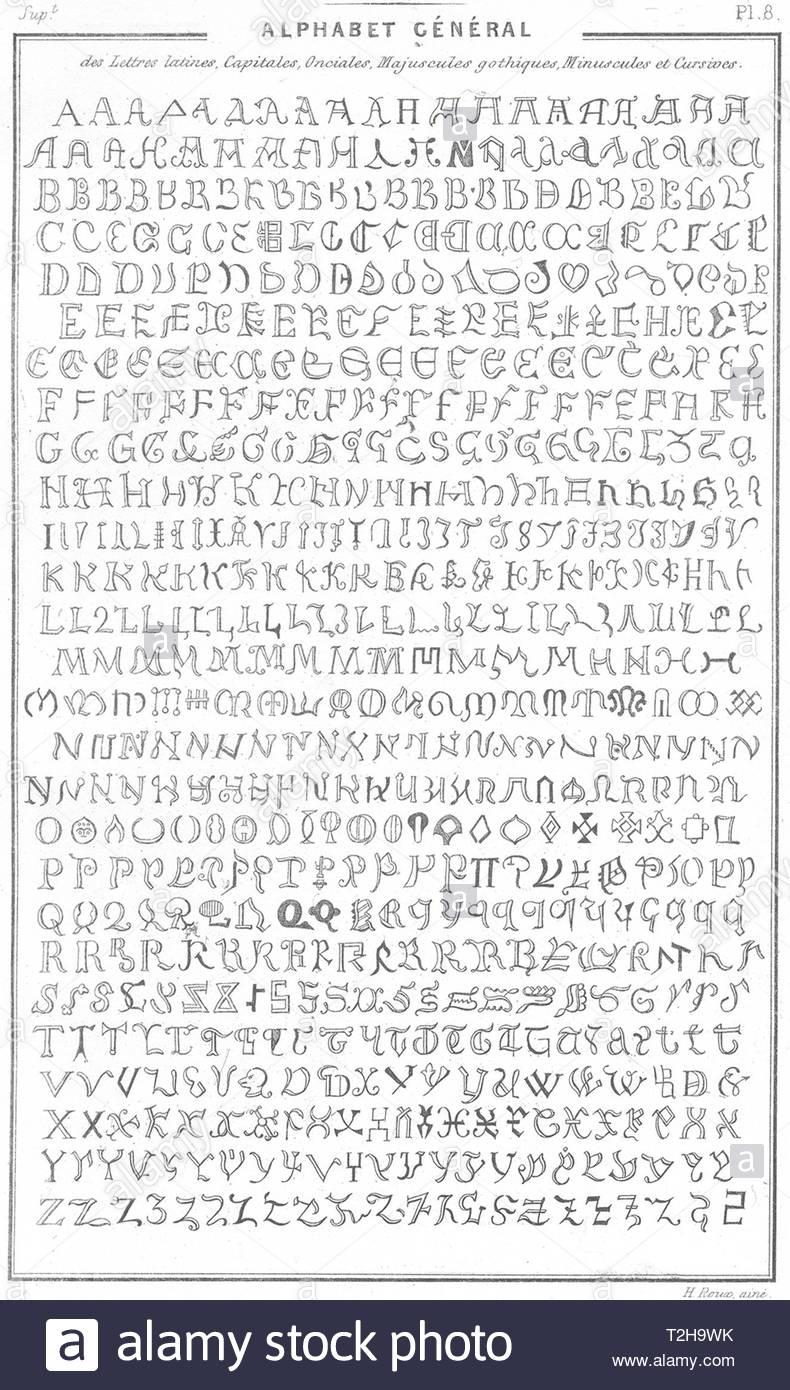 Latin Alphabet Black And White Stock Photos & Images - Alamy encequiconcerne Alphabet Script Minuscule