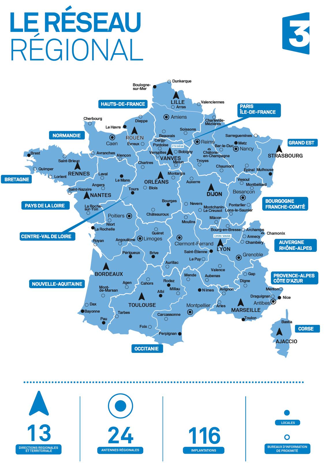 Le 1Er Janvier 2017, Le Réseau De France 3 S'organise En 12 encequiconcerne Nouvelles Régions De France 2017