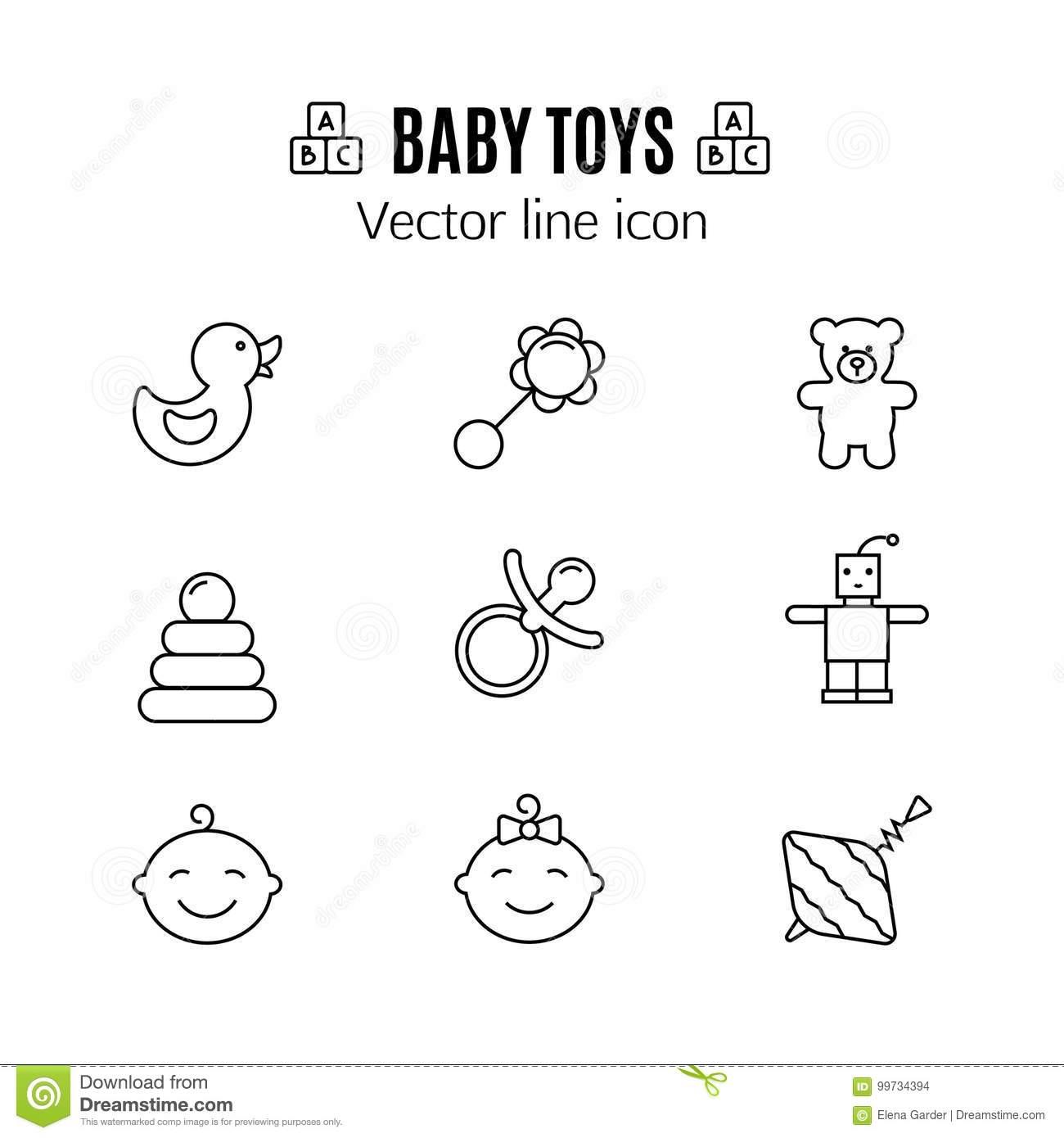 Le Bébé Joue La Ligne Mince Icône Jouet D'enfant De Symbole à Jeux Pour Bébé En Ligne