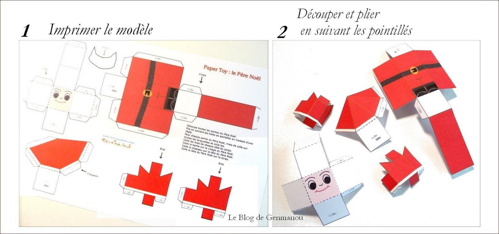 Le Blog De Genmanou: Un Père Noël En Papier. dedans Pere Noel A Imprimer Et A Decouper