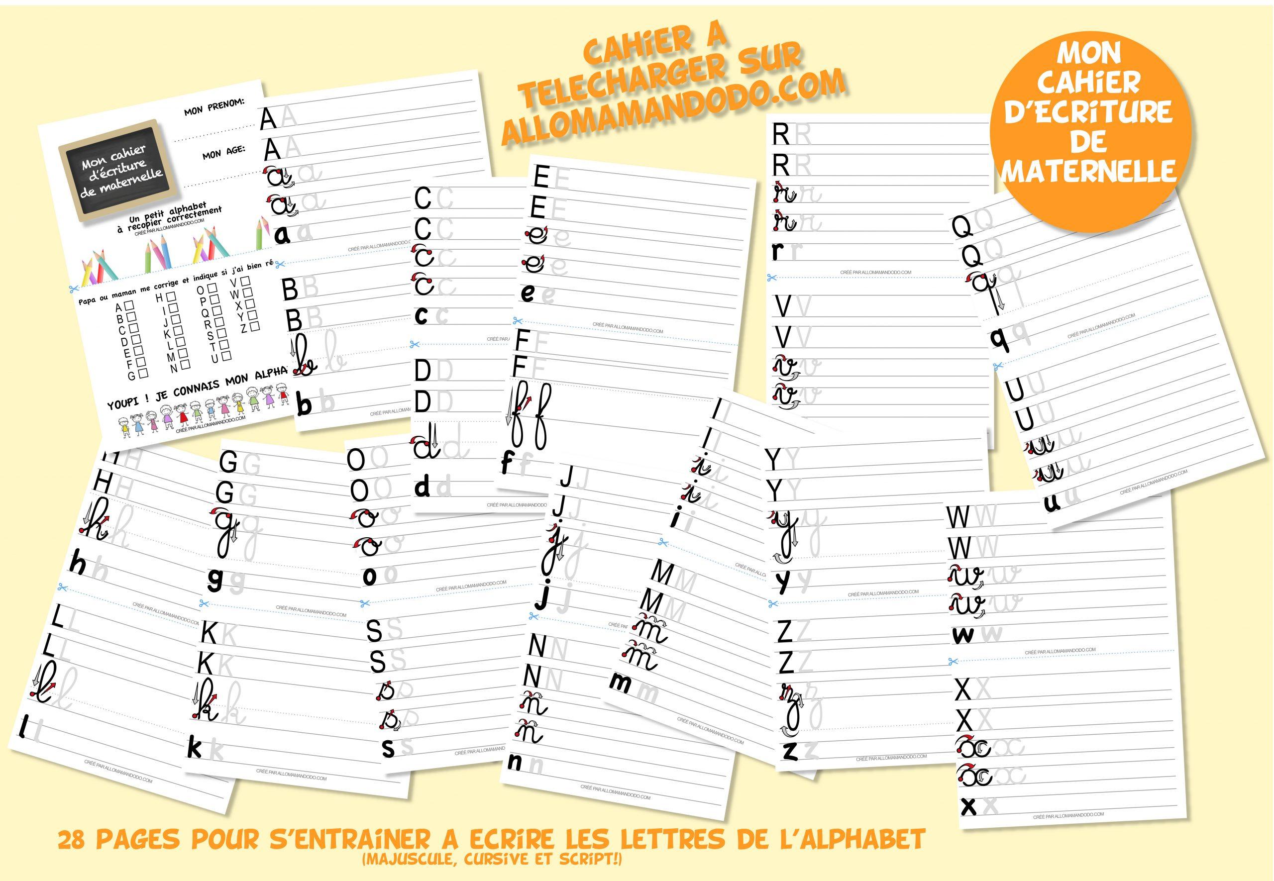 Le Cahier D'écriture De Maternelle À Télécharger ( Gratuit intérieur Écriture Grande Section À Imprimer
