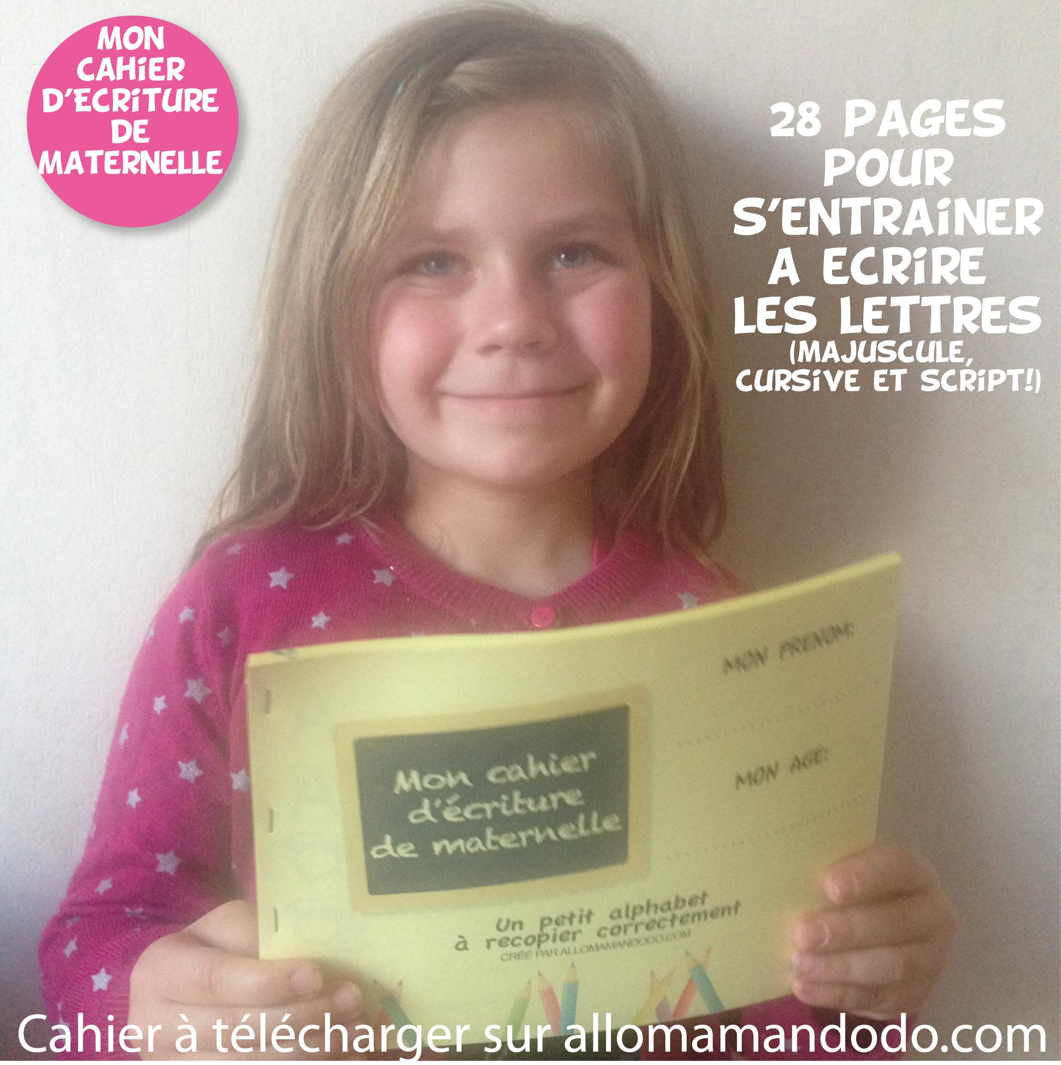 Le Cahier D'écriture De Maternelle À Télécharger ( Gratuit pour Apprendre Ecriture Maternelle