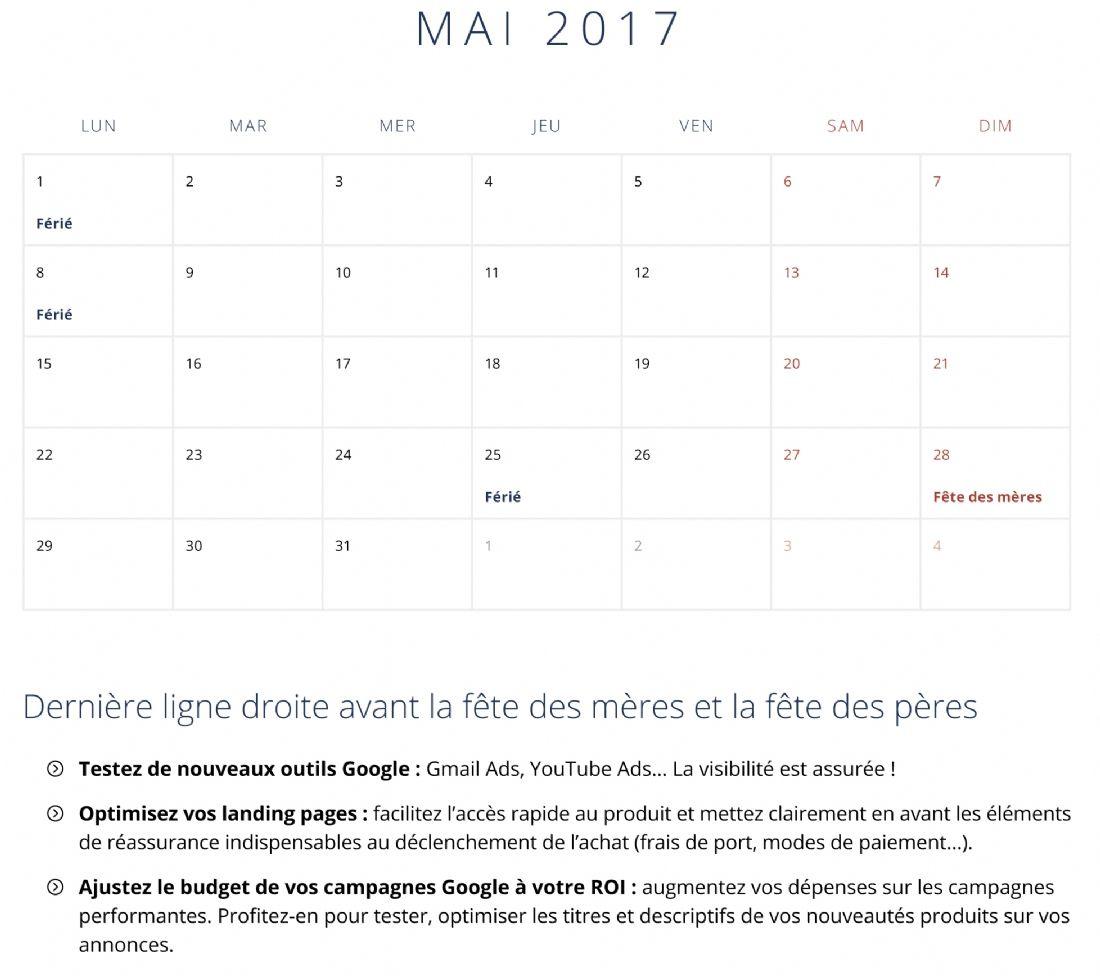 Le Calendrier 2017 Des E-Commerçants intérieur Calendrier 2017 En Ligne