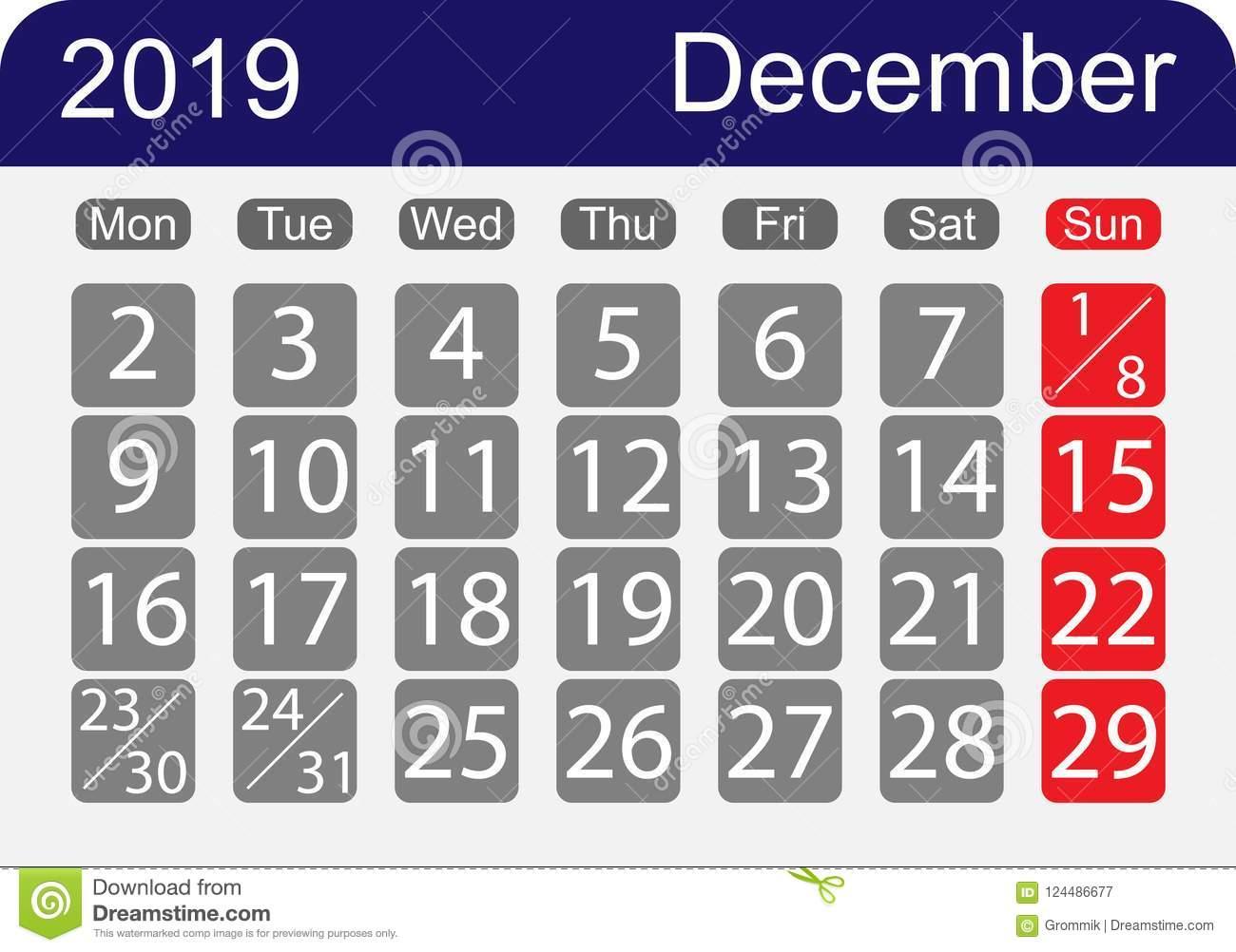 Le Calendrier 2019, Le Mois De Décembre, Une Semaine Avec Un encequiconcerne Calendrier 2019 Avec Semaine