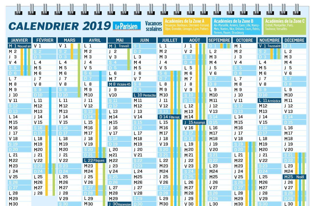 Le Calendrier À Imprimer Des Jours Fériés En 2019 - Le Parisien pour Calendrier 2019 Avec Jours Fériés Vacances Scolaires À Imprimer