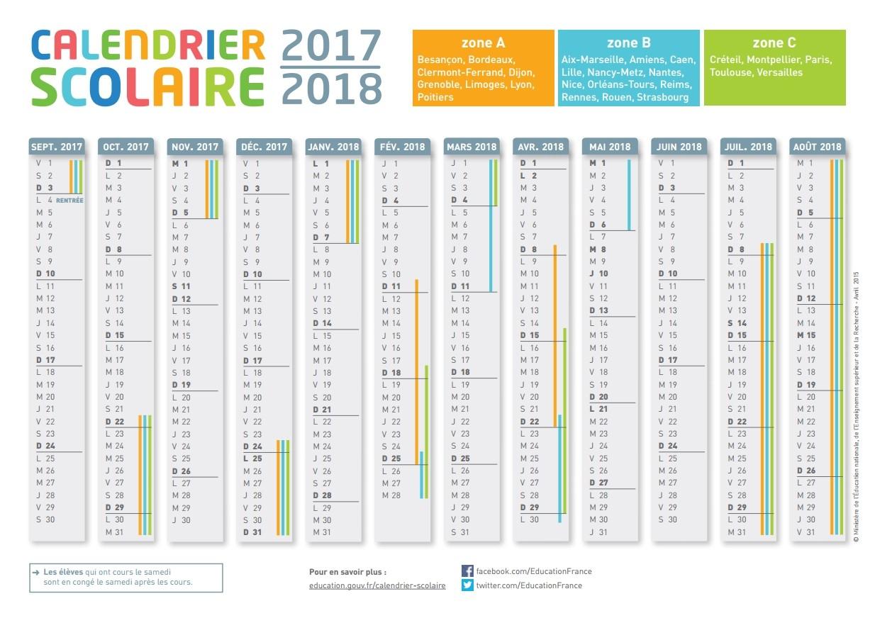 Le Calendrier Scolaire 2017-2018 À Imprimer - Bdm pour Calendrier 2018 Avec Jours Fériés Vacances Scolaires À Imprimer