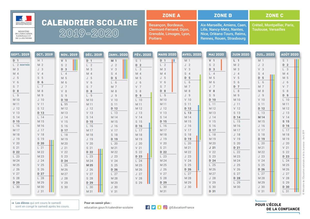 Le Calendrier Scolaire 2019-2020 Avec Les Dates Des Vacances encequiconcerne Calendrier 2019 Avec Jours Fériés Vacances Scolaires À Imprimer