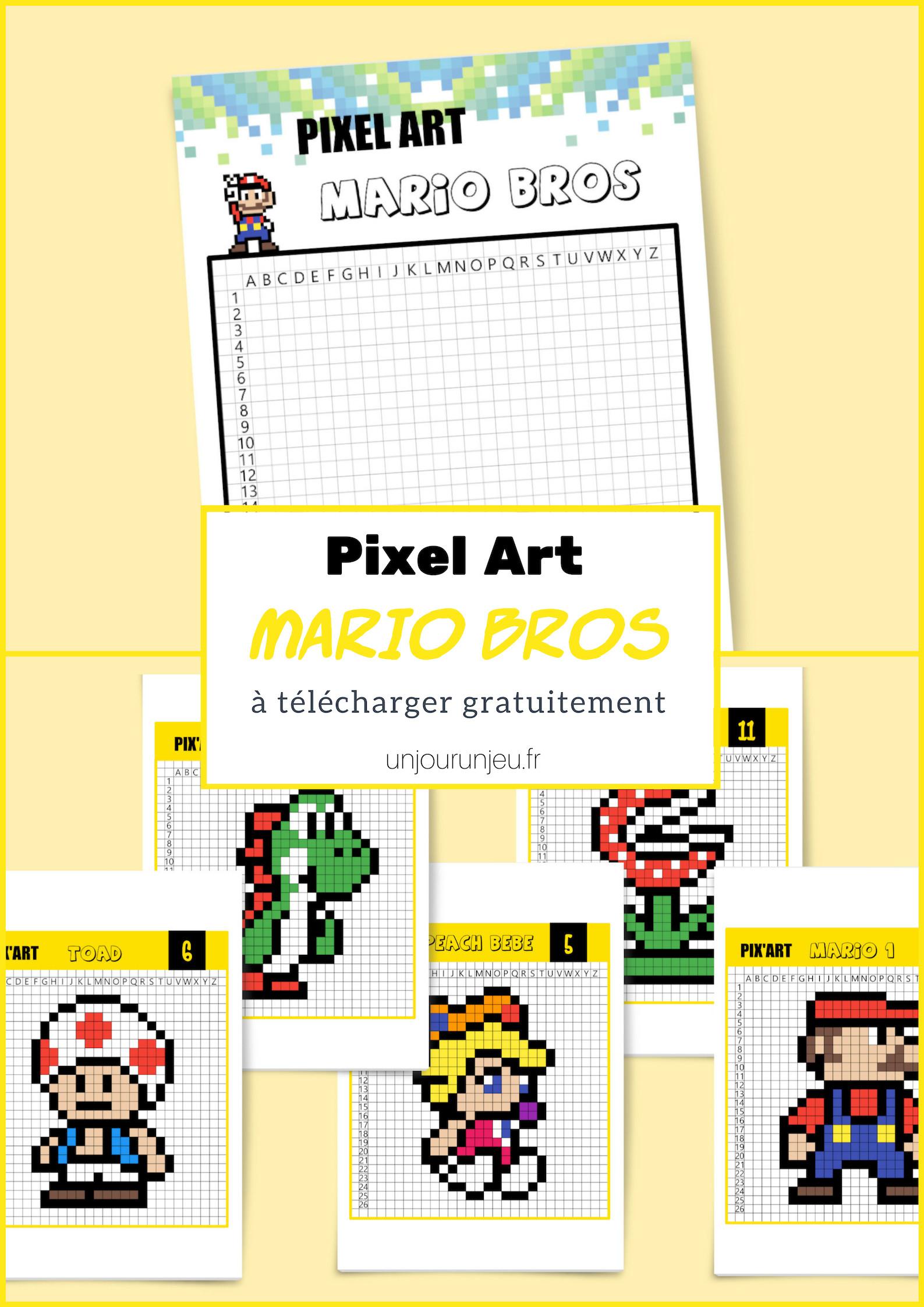 Le Célèbre Mario Bros En Pixel Art - Un Jour Un Jeu concernant Pixel A Colorier