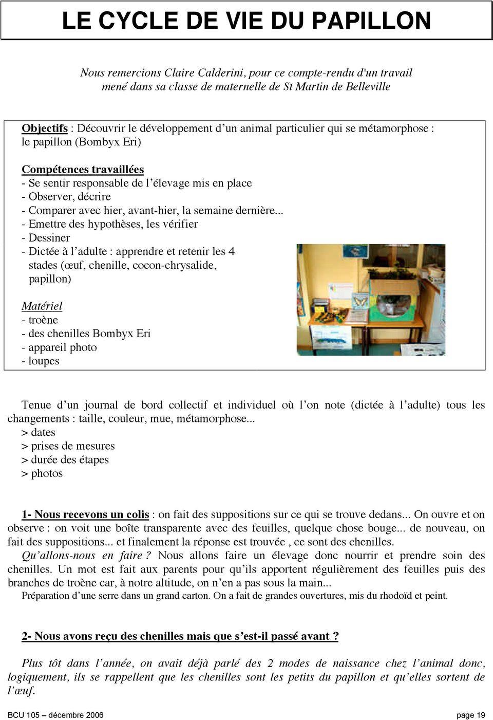 Le Cycle De Vie Du Papillon - Pdf Free Download intérieur Cycle De Vie D Une Chenille