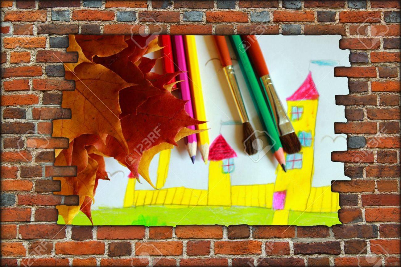 Le Dessin De Feuilles De Maison Et D'automne Mur De Briques Cassé Et  Afficher Des Enfants pour Casse Brique Enfant