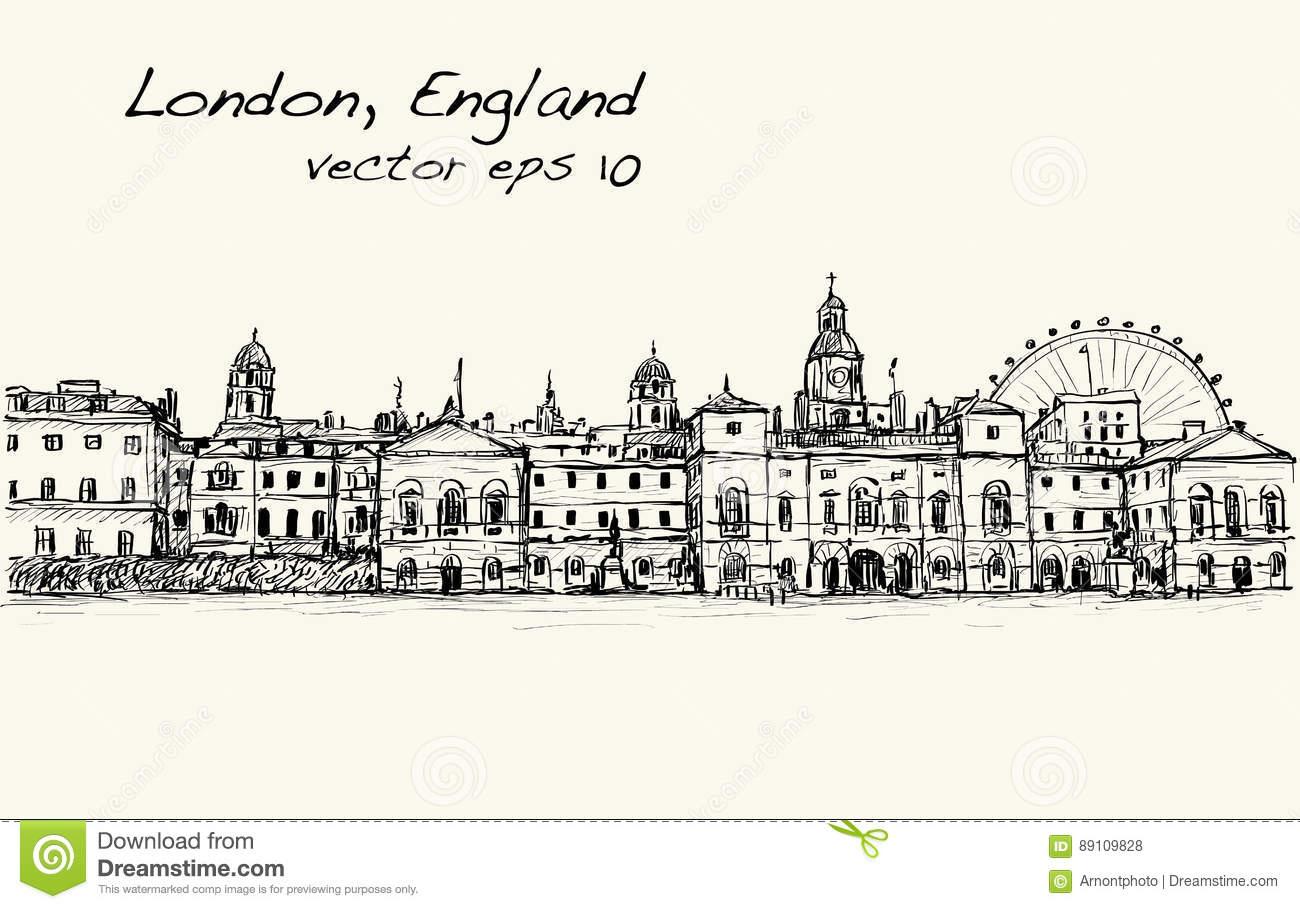 Le Dessin De Scape De Ville À Londres, Angleterre, Montrent avec Dessin De Angleterre