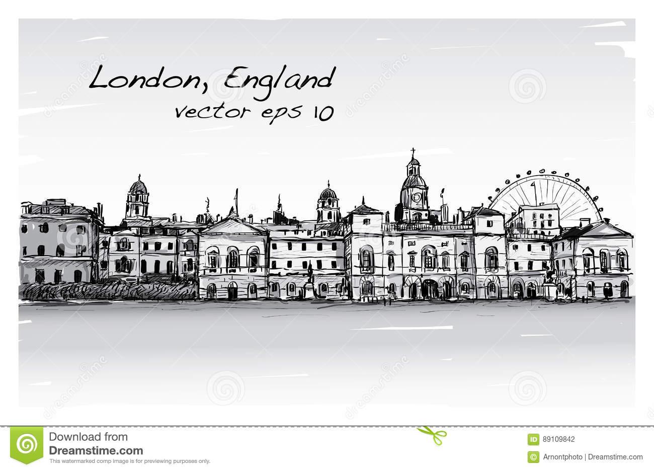 Le Dessin De Scape De Ville À Londres, Angleterre, Montrent encequiconcerne Dessin De Angleterre