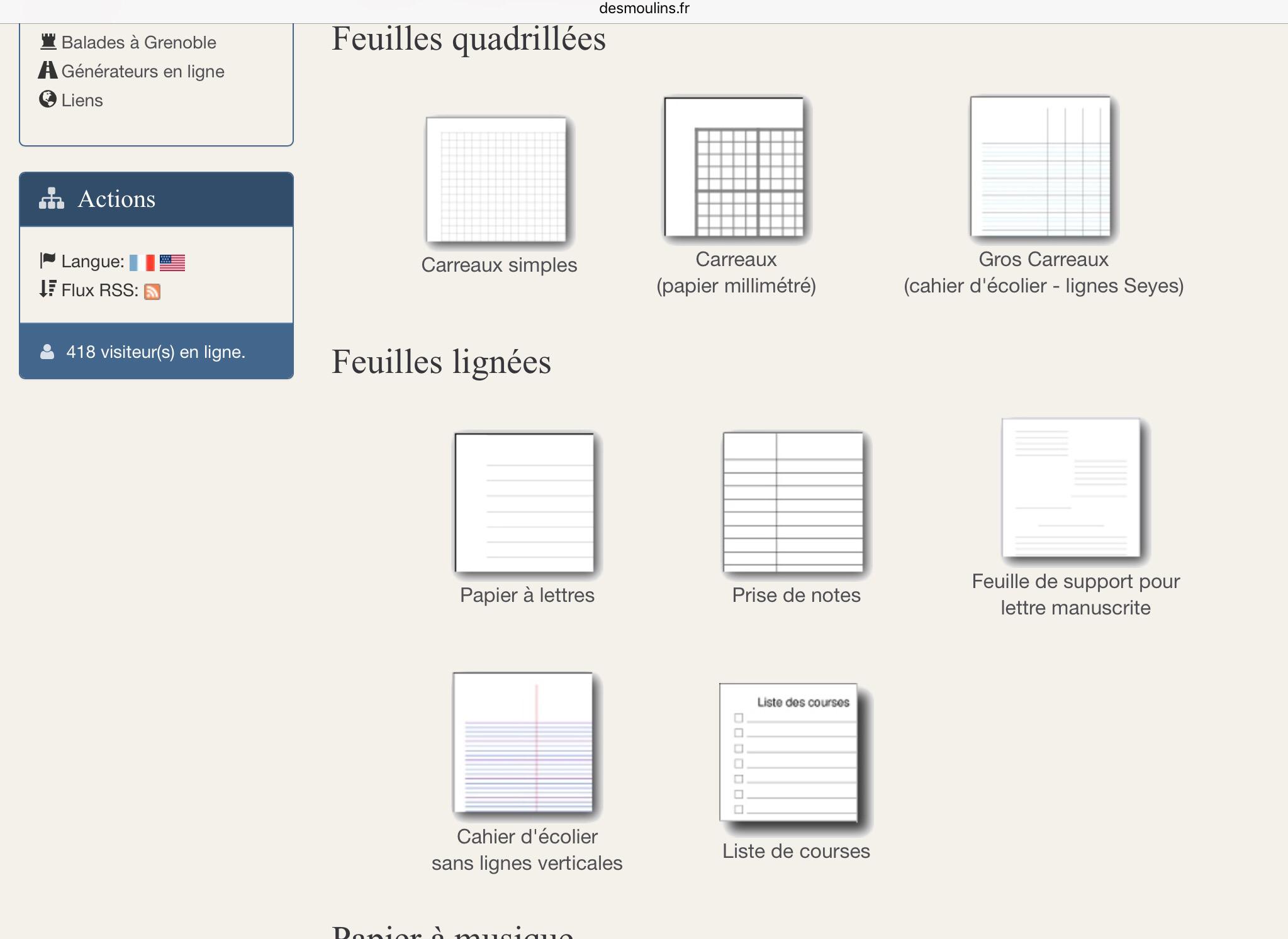 Le Générateur De Feuilles : Http://.desmoulins.fr encequiconcerne Feuille Lignée A Imprimer