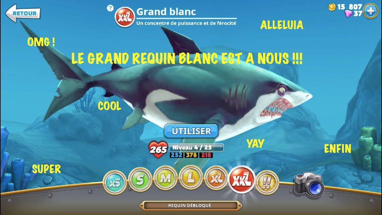 Le Grand Requin Blanc Débloqué ! - Hungry Shark World #4 pour Requin Jeux Video