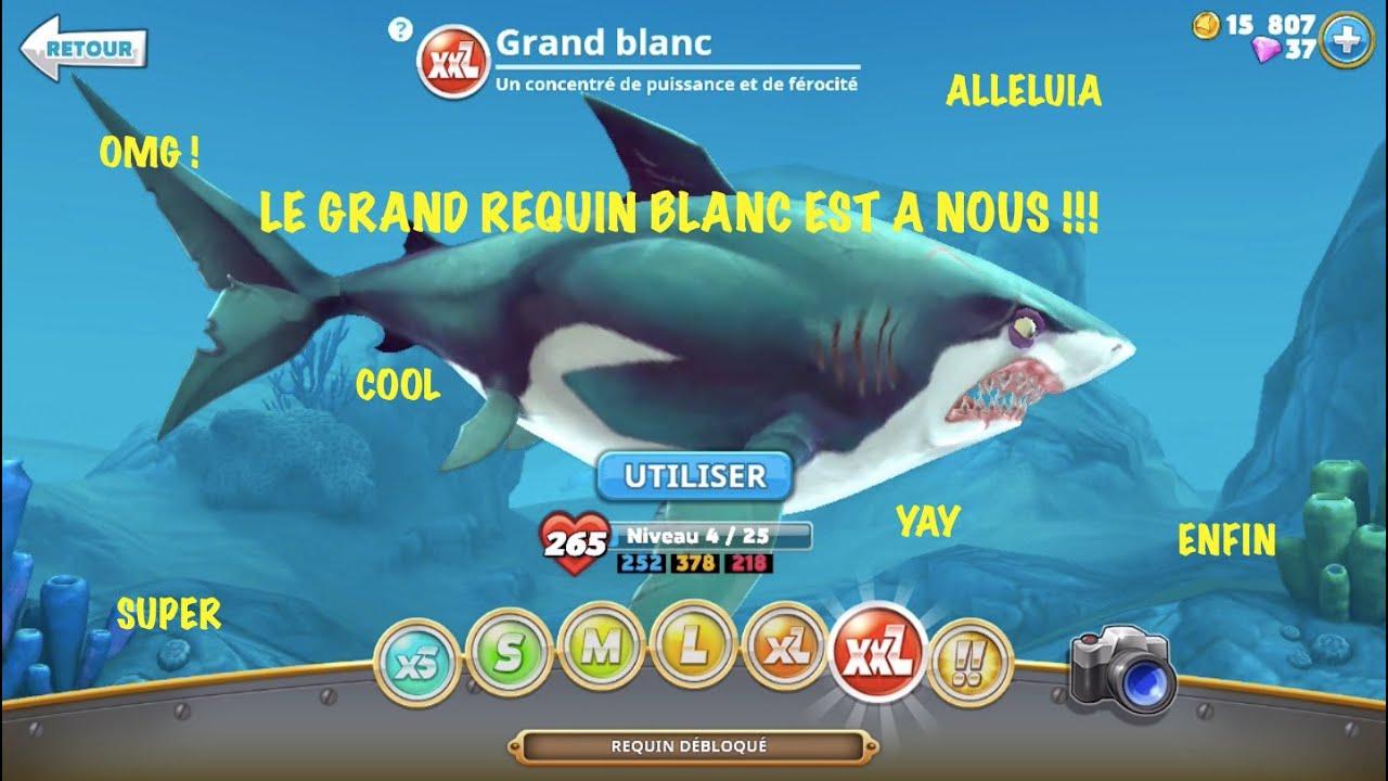 Le Grand Requin Blanc Débloqué ! - Hungry Shark World #4 tout Jeux Gratuit Requin Blanc