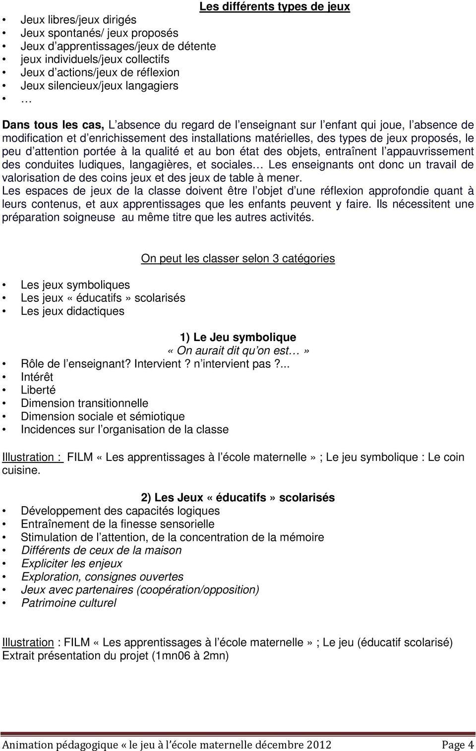 Le Jeu A L Ecole Maternelle. Introduction - Pdf serapportantà Jeux Didactiques Maternelle