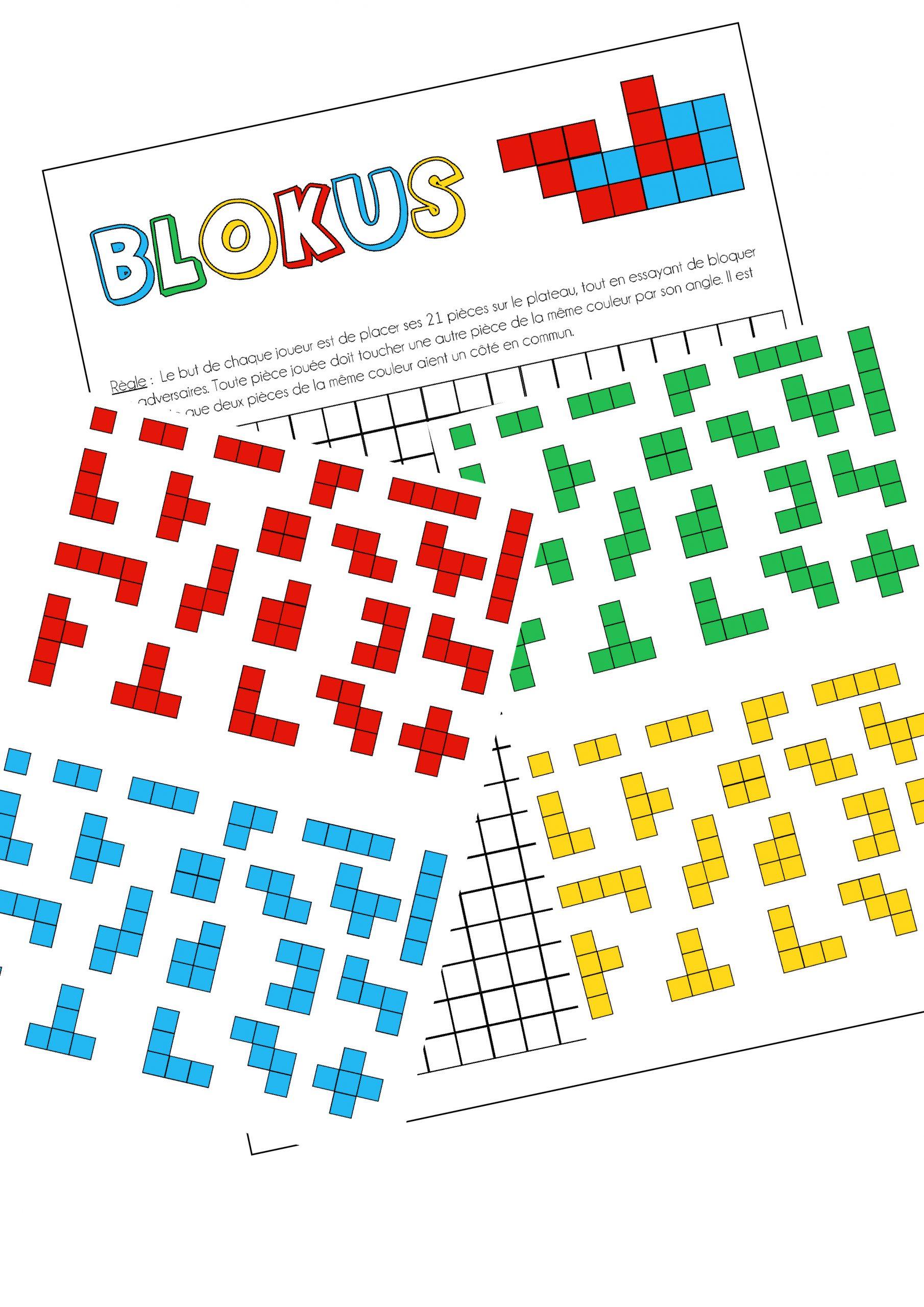 Le Jeu Blokus - Version Imprimable - - La Classe De Calliplume encequiconcerne Jeux De Maternelle À Imprimer