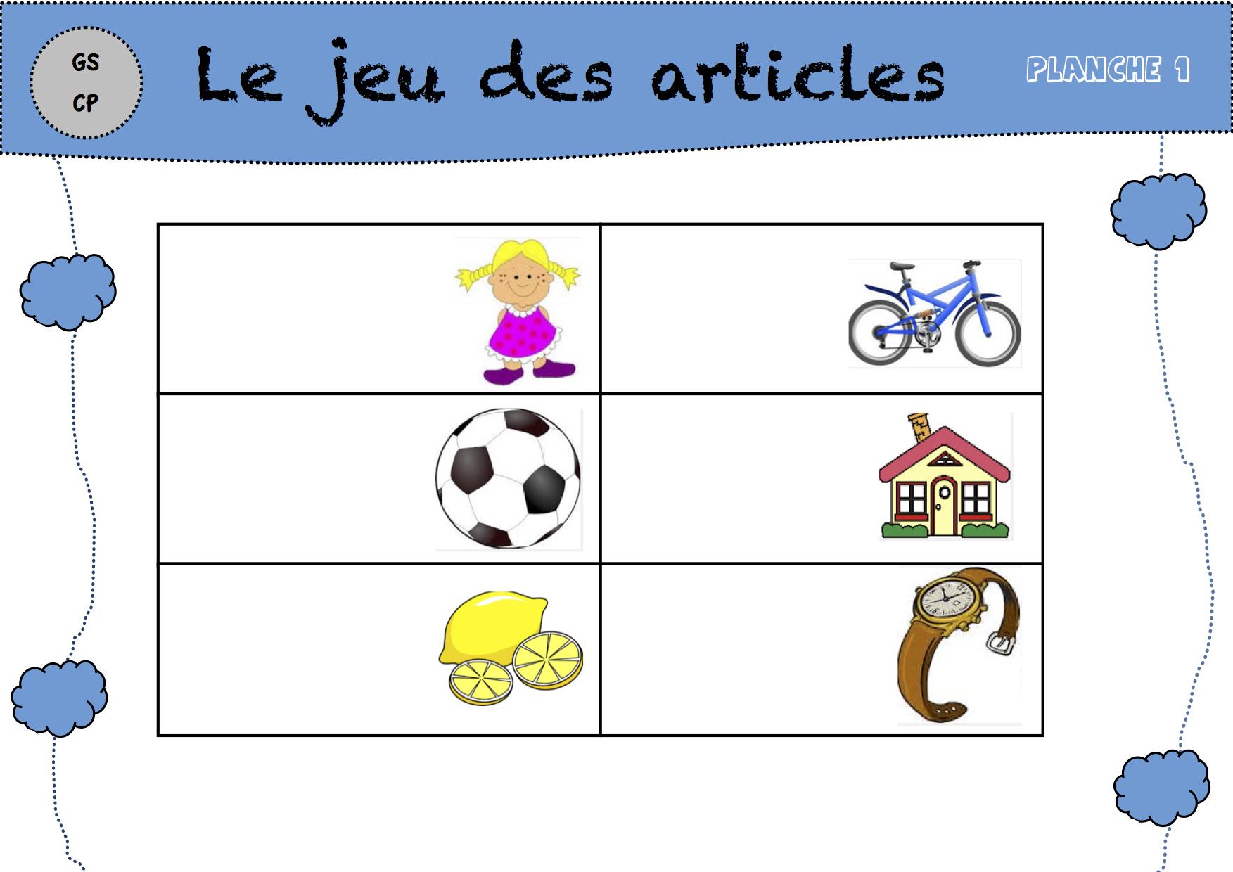 Le Jeu Des Articles - La Classe De Luccia ! concernant Jeux Maternelle Grande Section