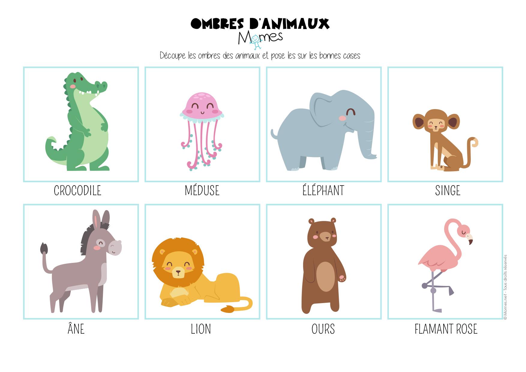 Le Jeu Des Ombres D'animaux - Momes encequiconcerne Jeux À Imprimer 3 Ans
