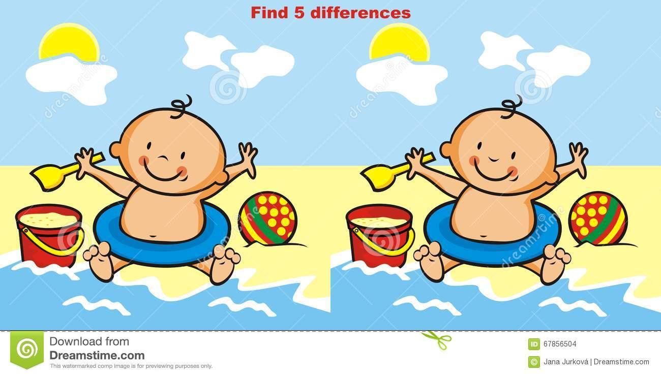 Le Jeu, Trouvent 5 Différences Illustration De Vecteur tout Les 5 Differences