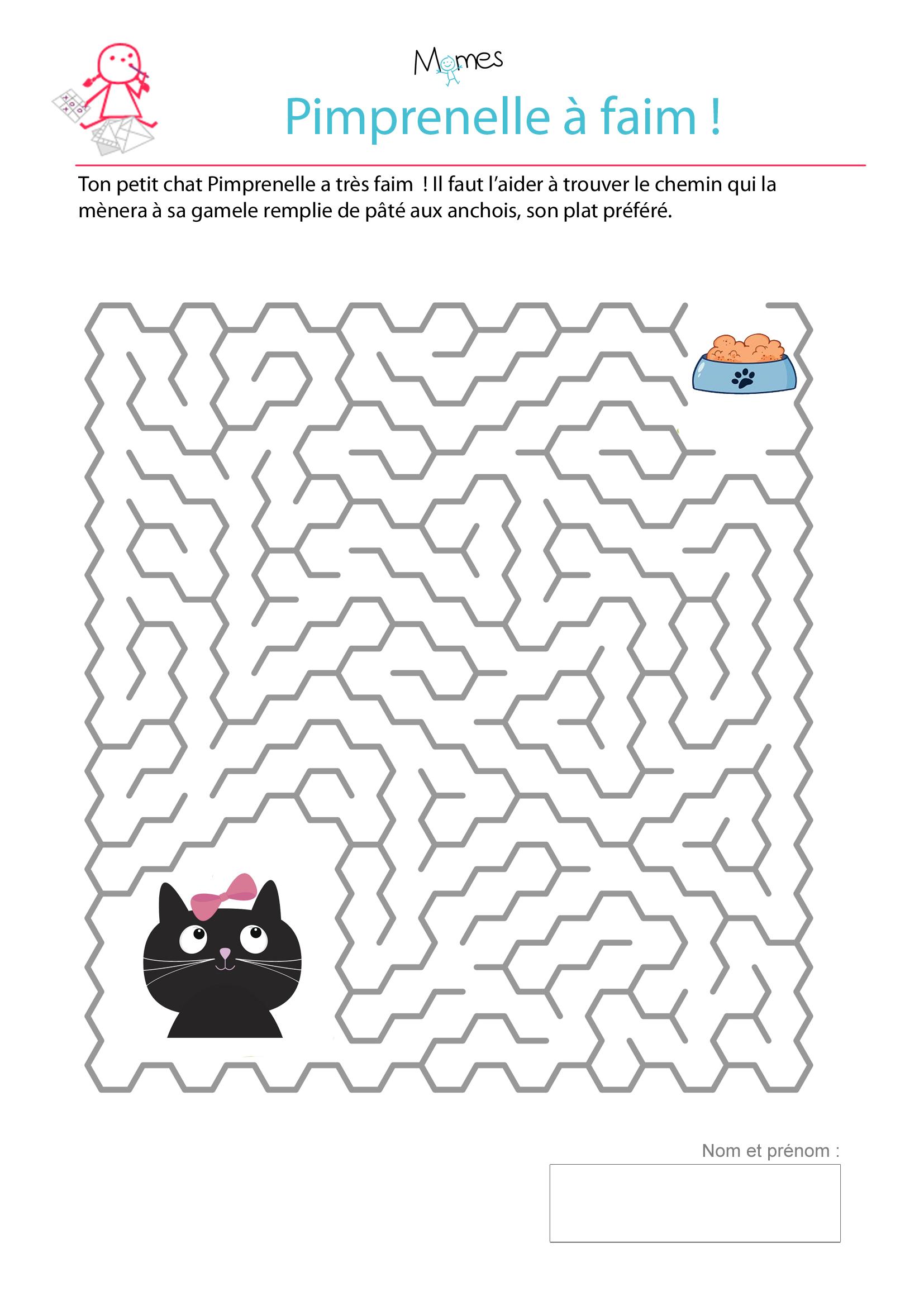 Le Labyrinthe De Pimprenelle Le Chat - Momes serapportantà Trouver Les Erreurs À Imprimer