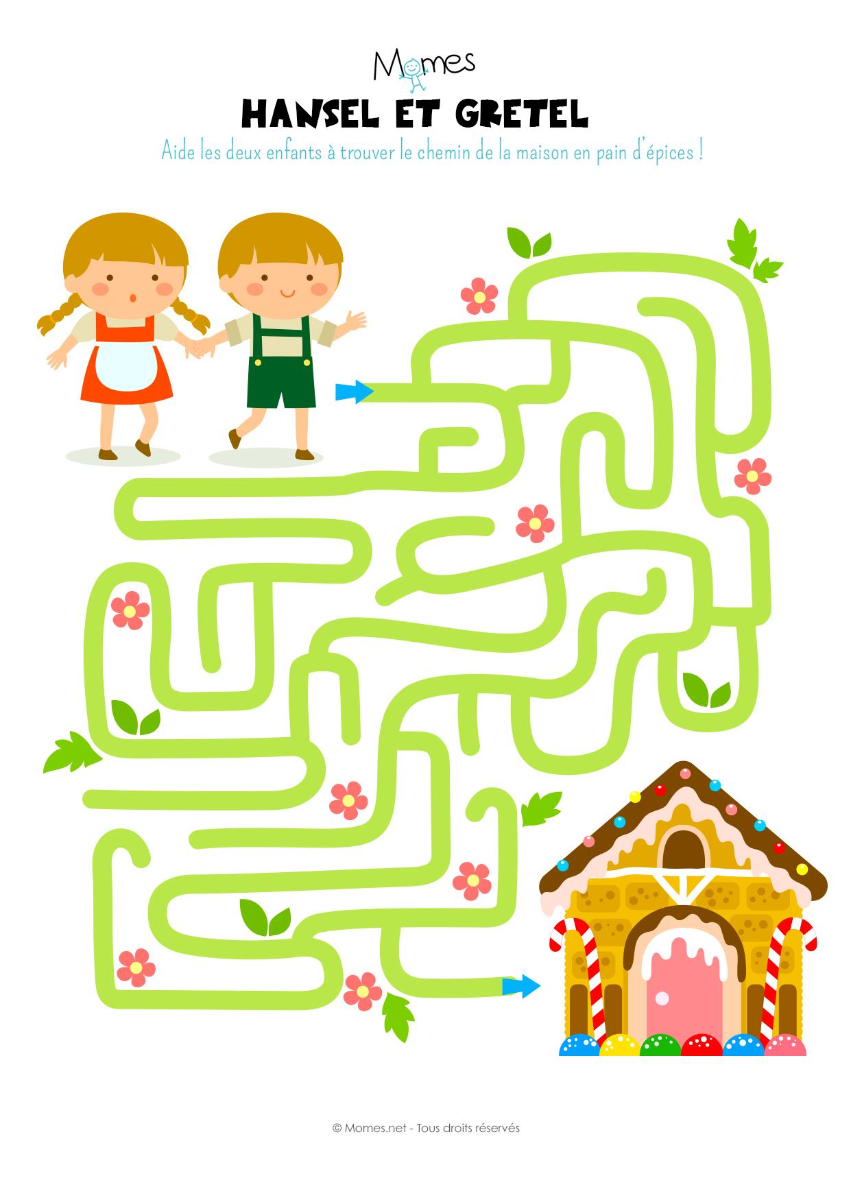 Le Labyrinthe D'hansel Et Gretel - Momes concernant Jeux À Imprimer 6 Ans
