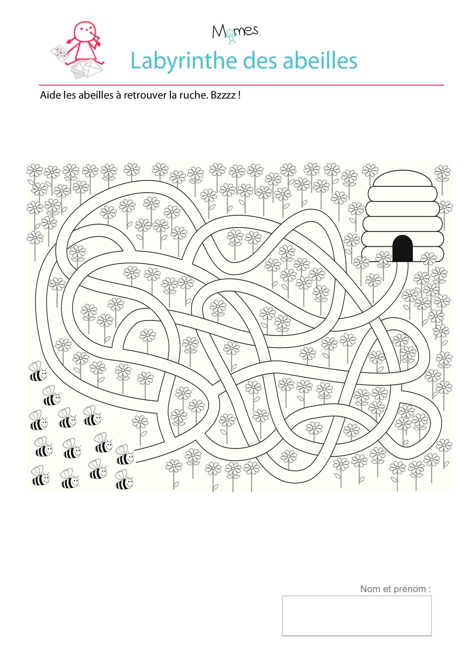 Le Labyrinthes Des Abeilles - Momes avec Labyrinthes À Imprimer