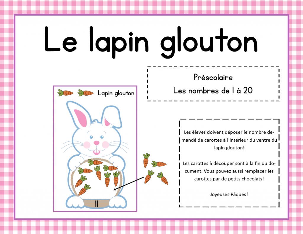 Le Lapin Glouton - Jeu Mathématique Pour Pâques pour Jeux De Matematique