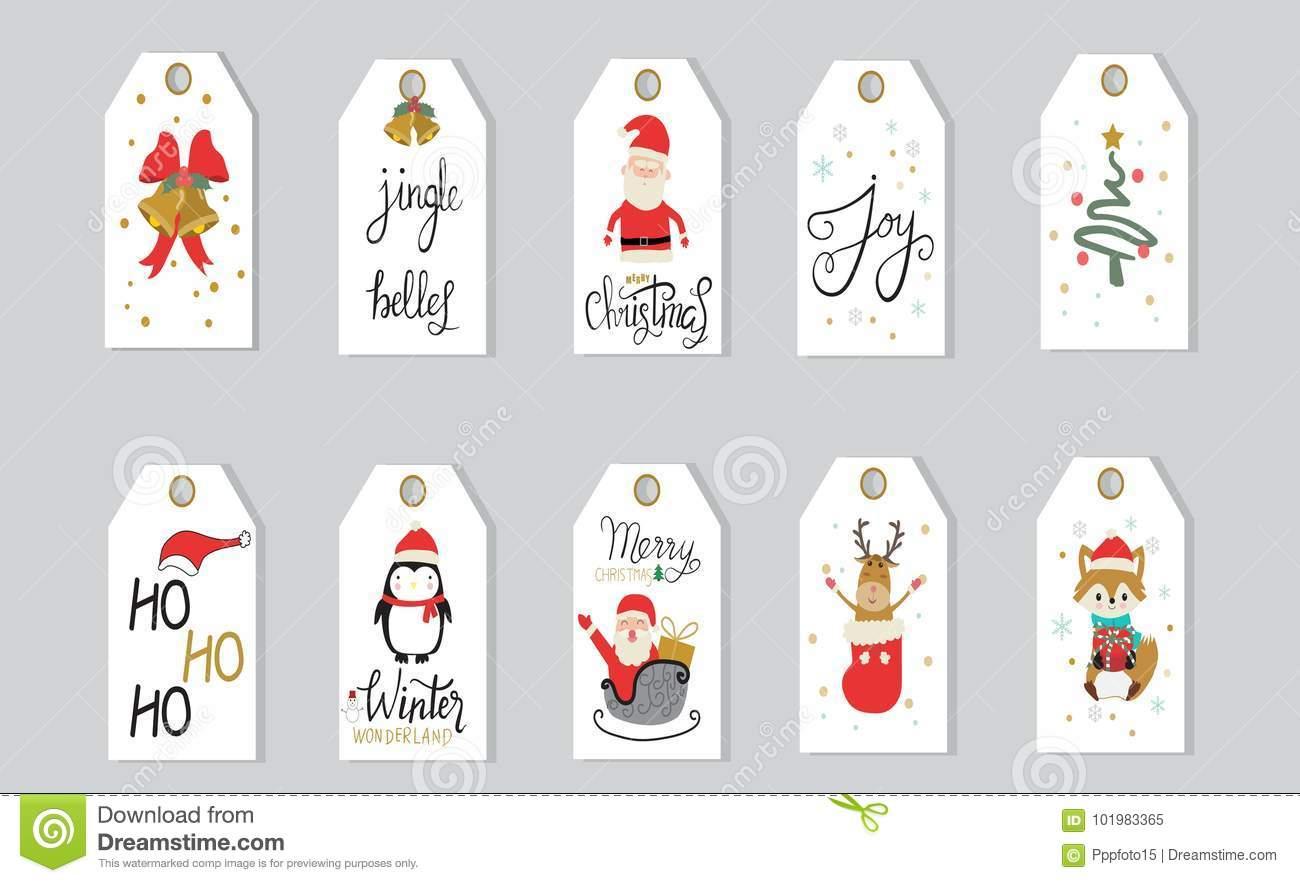 Le Lettrage De Main D'étiquettes De Cadeaux De Joyeux Noël A intérieur Etiquette Pour Cadeau De Noel