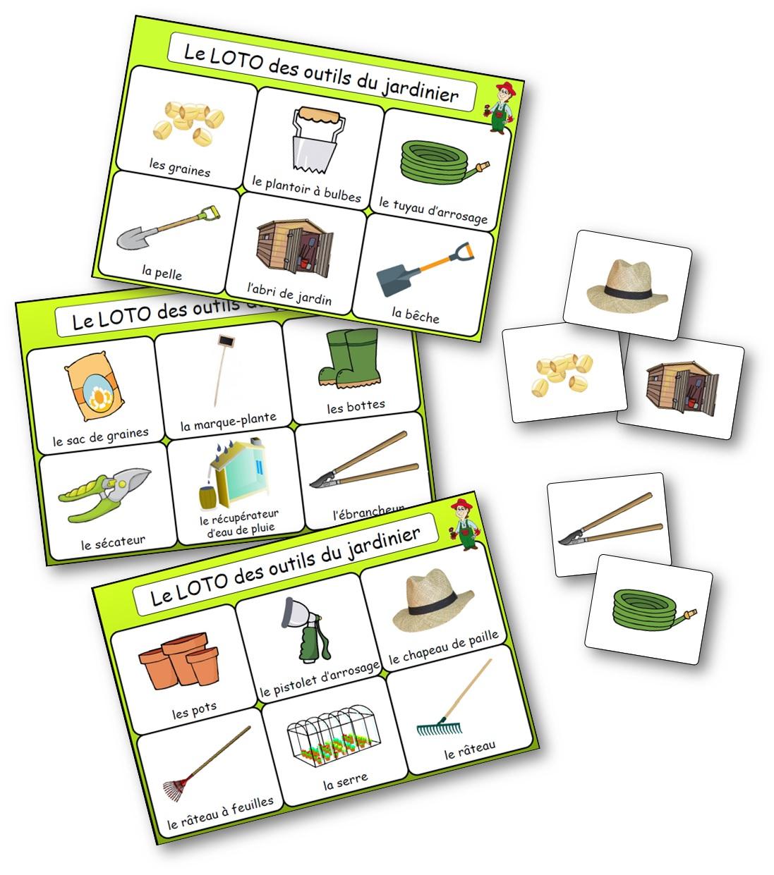Le Loto Des Outils Du Jardinier - Jeu De Bingo Du Jardinage concernant Jeux Cp À Imprimer